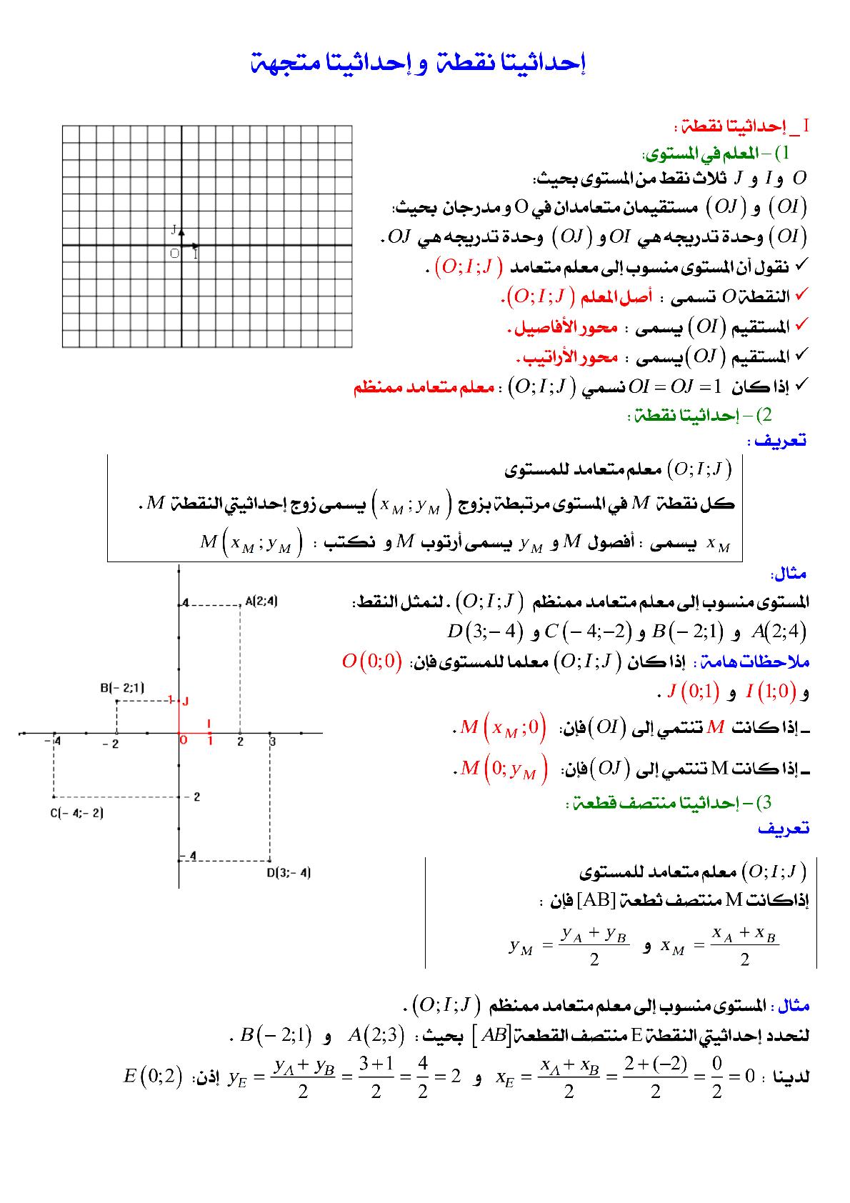 درس إحداثيات نقطة، إحداثيات متجهة في مادة الرياضيات للسنة الثالثة إعدادي