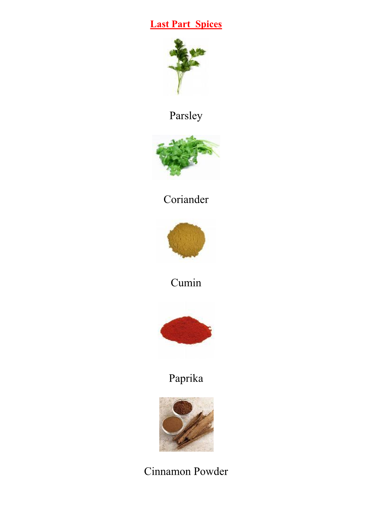 Food and Drink Vocabulary: Spices