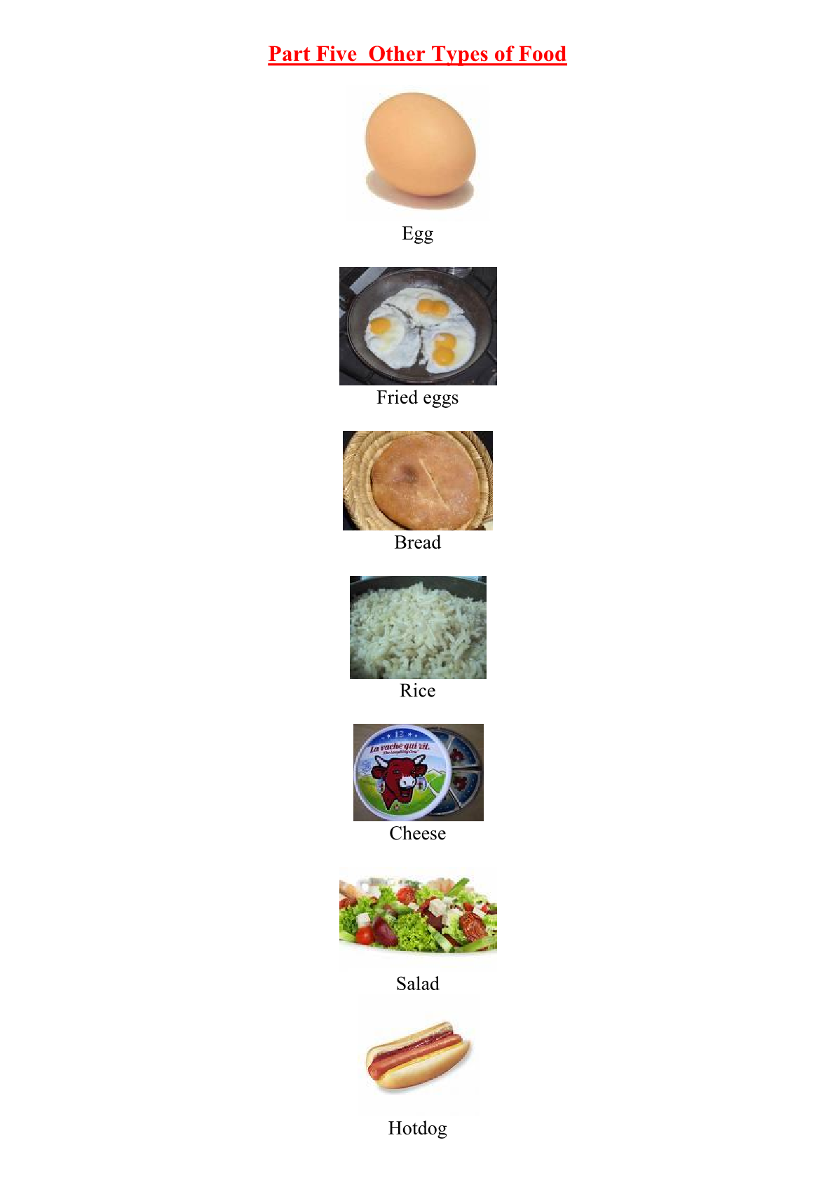 Food and Drink Vocabulary: Other Types of Food