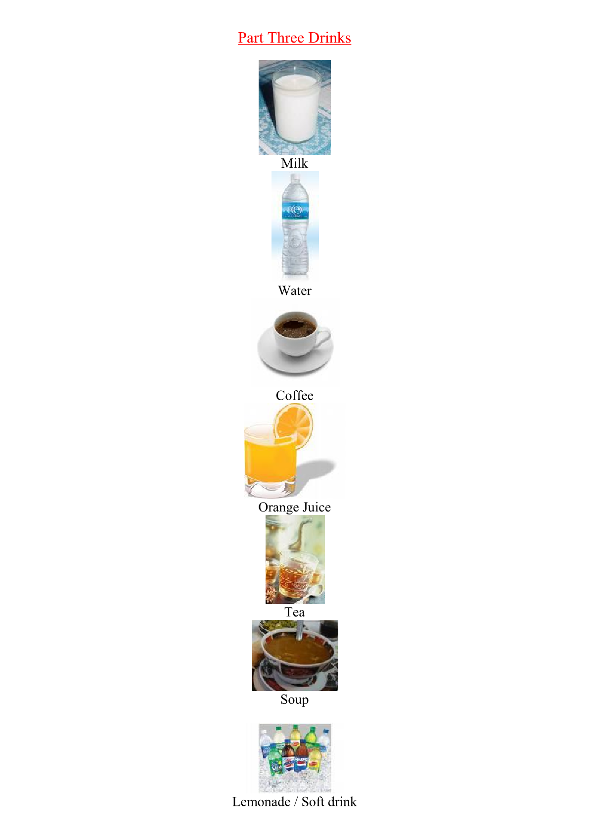 Food and Drink Vocabulary:Drinks