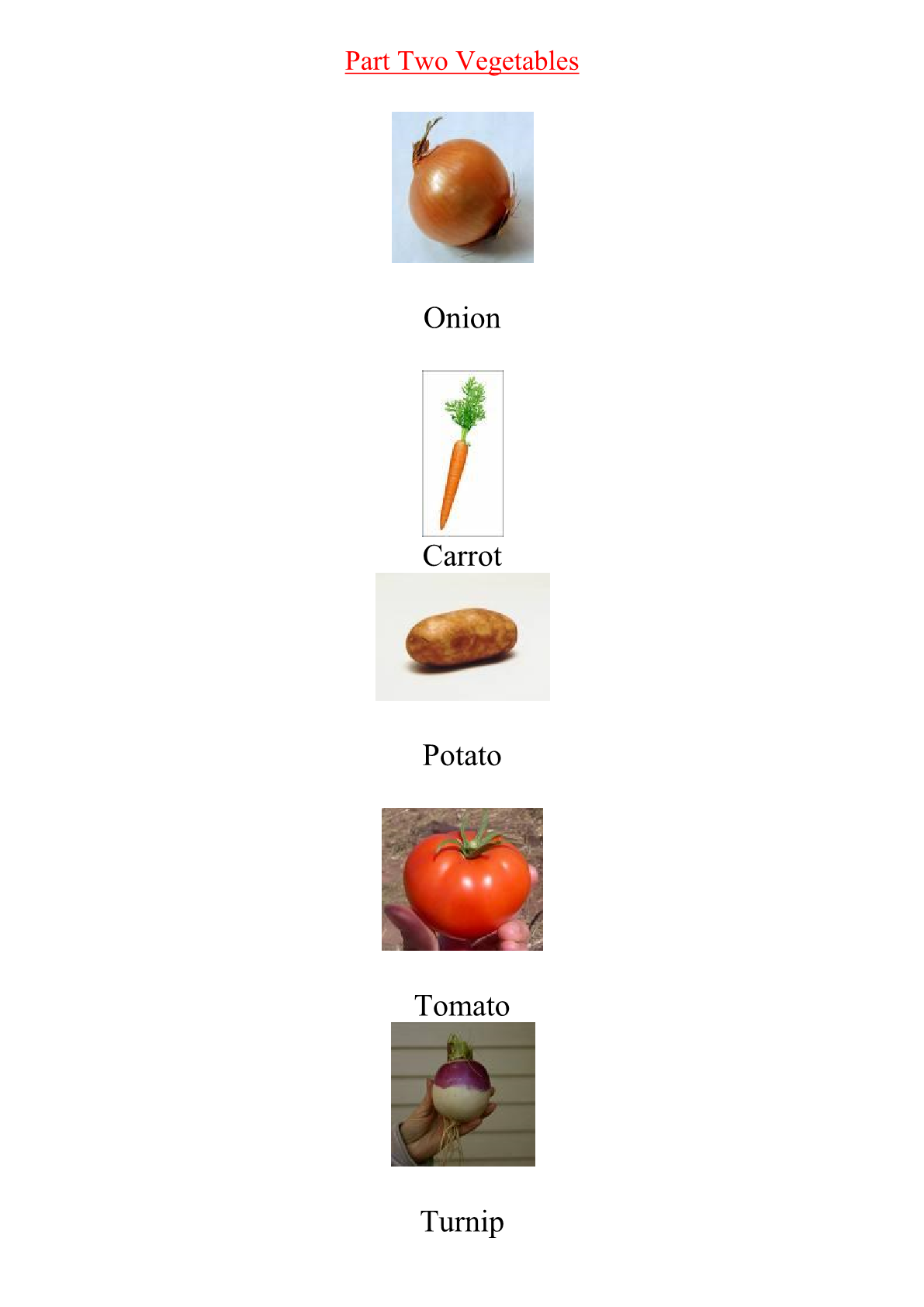 Food and Drink:Vegetables Vocabulary