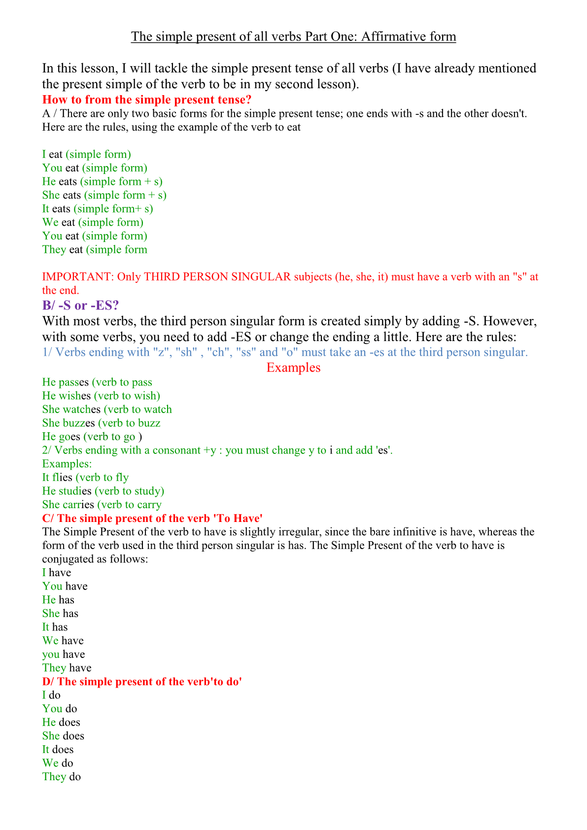 The simple present of all verbs Part One