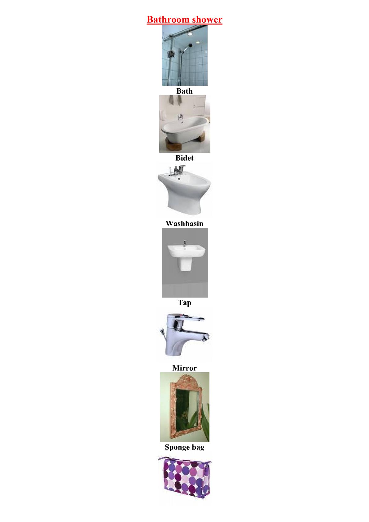 درس Vocabulary: Parts of a Bathroom shower للسنة الثالثة إعدادي
