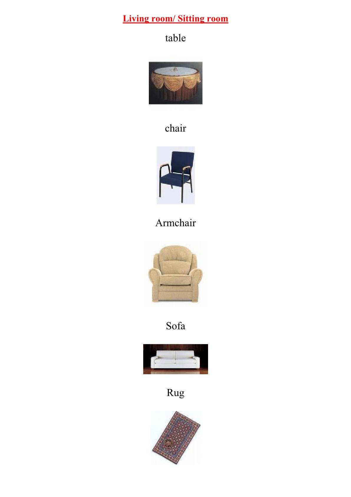 درس Vocabulary: Living room/ Sitting room للسنة الثالثة إعدادي
