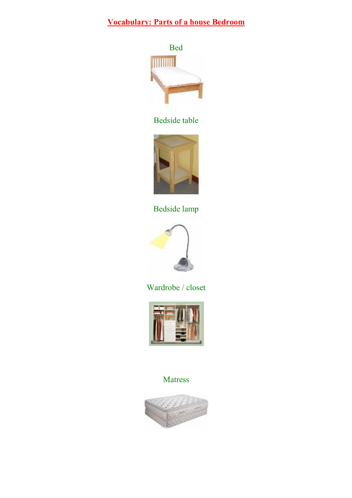 درس Vocabulary: house Bedroom