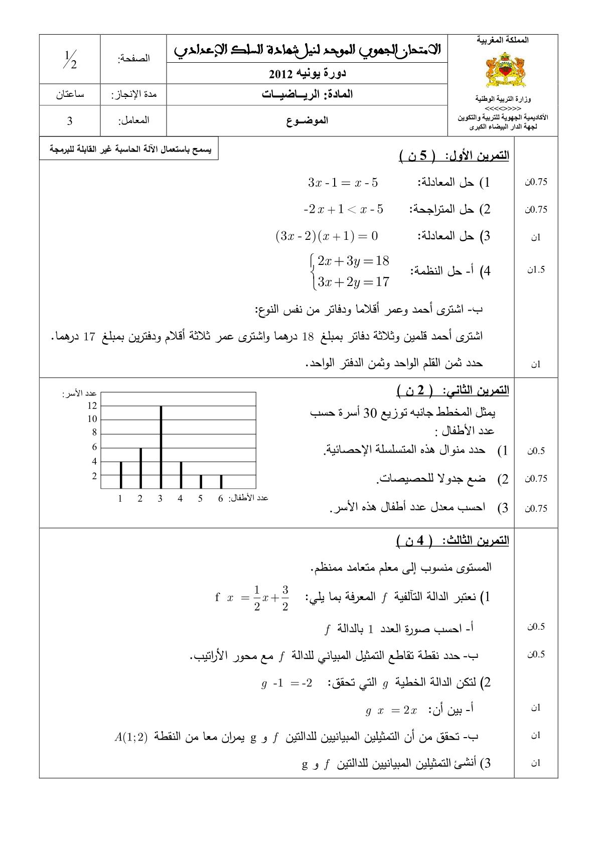 الامتحان الجهوي الموحد لنيل شهادة السلك الاعدادي لجهة الدار البيضاء الكبرى