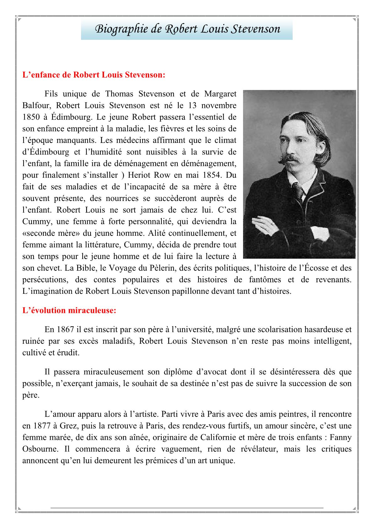 درس La biographie de robert louis stevenson بمادة اللغة الفرنسية للمستوى الثالثة إعدادي