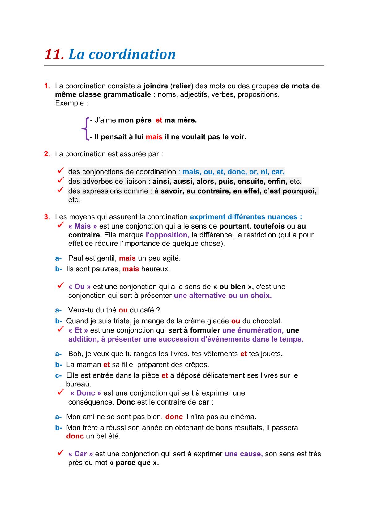 درس La coordination – مادة اللغة الفرنسية