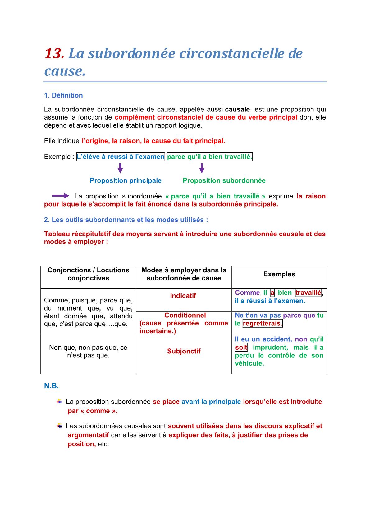 درس La subordonnée circonstancielle de cause – اللغة الفرنسية
