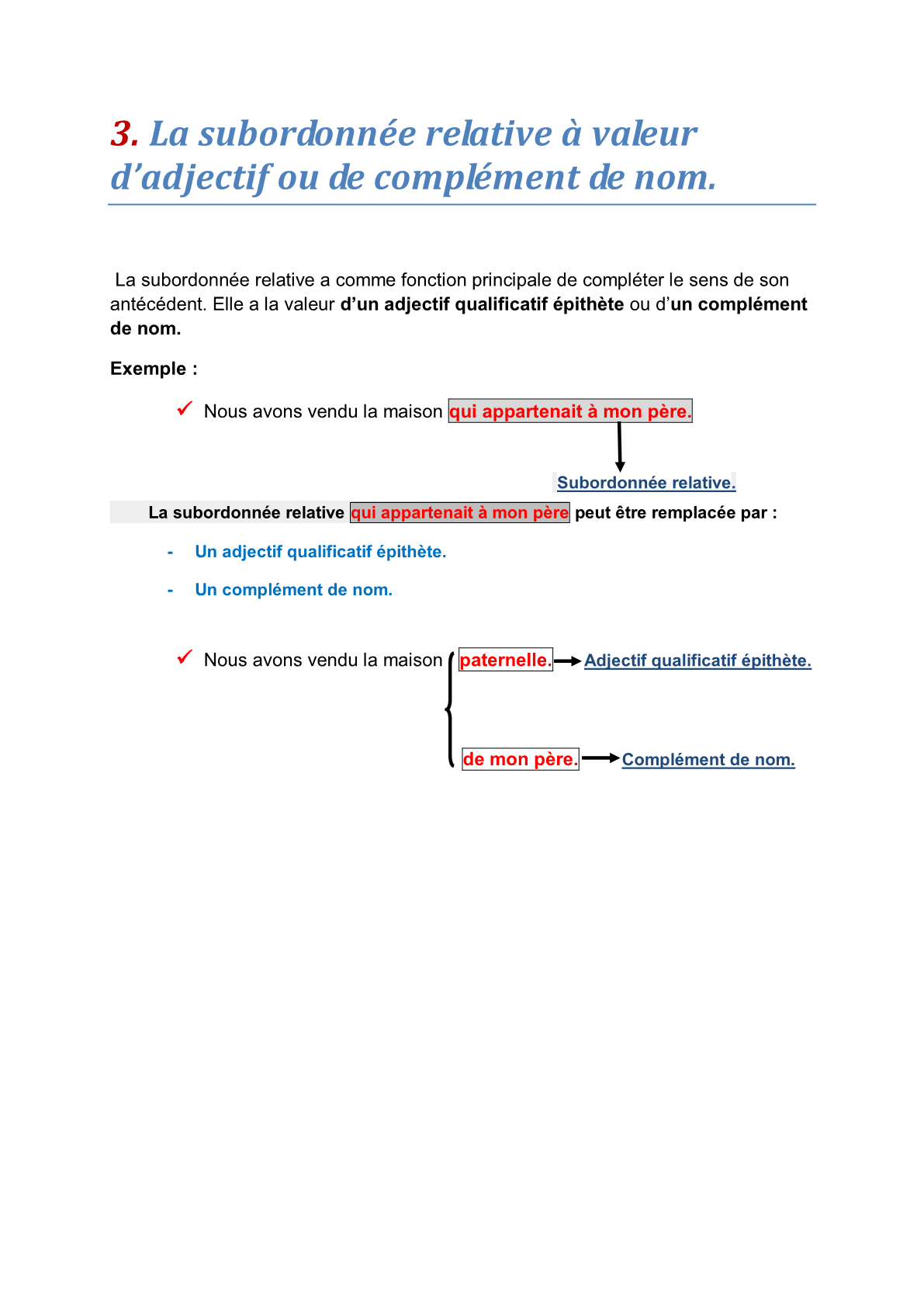 درس La subordonnée relative à valeur d'adjectif ou de complément de nom