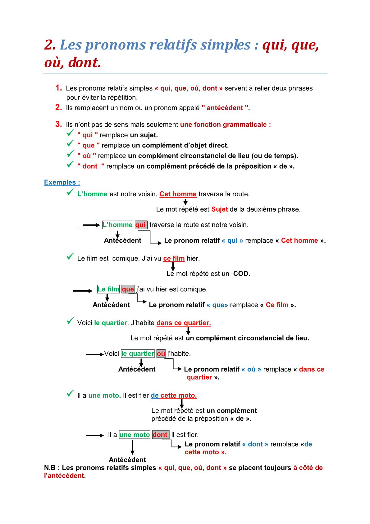 تحميل درس Les pronoms relatifs simples: qui, que, où, dont – اللغة الفرنسية