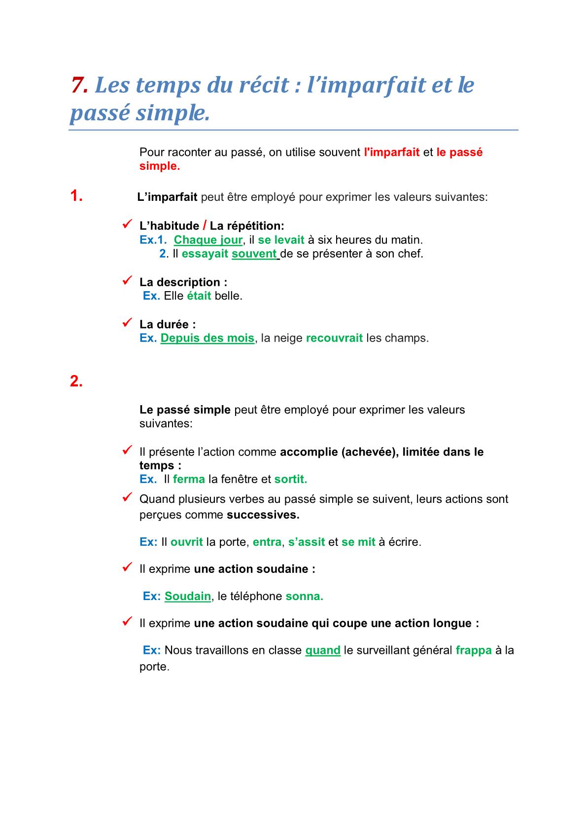 درس Les temps du récit: l'imparfait et le passé simple – مادة اللغة الفرنسية