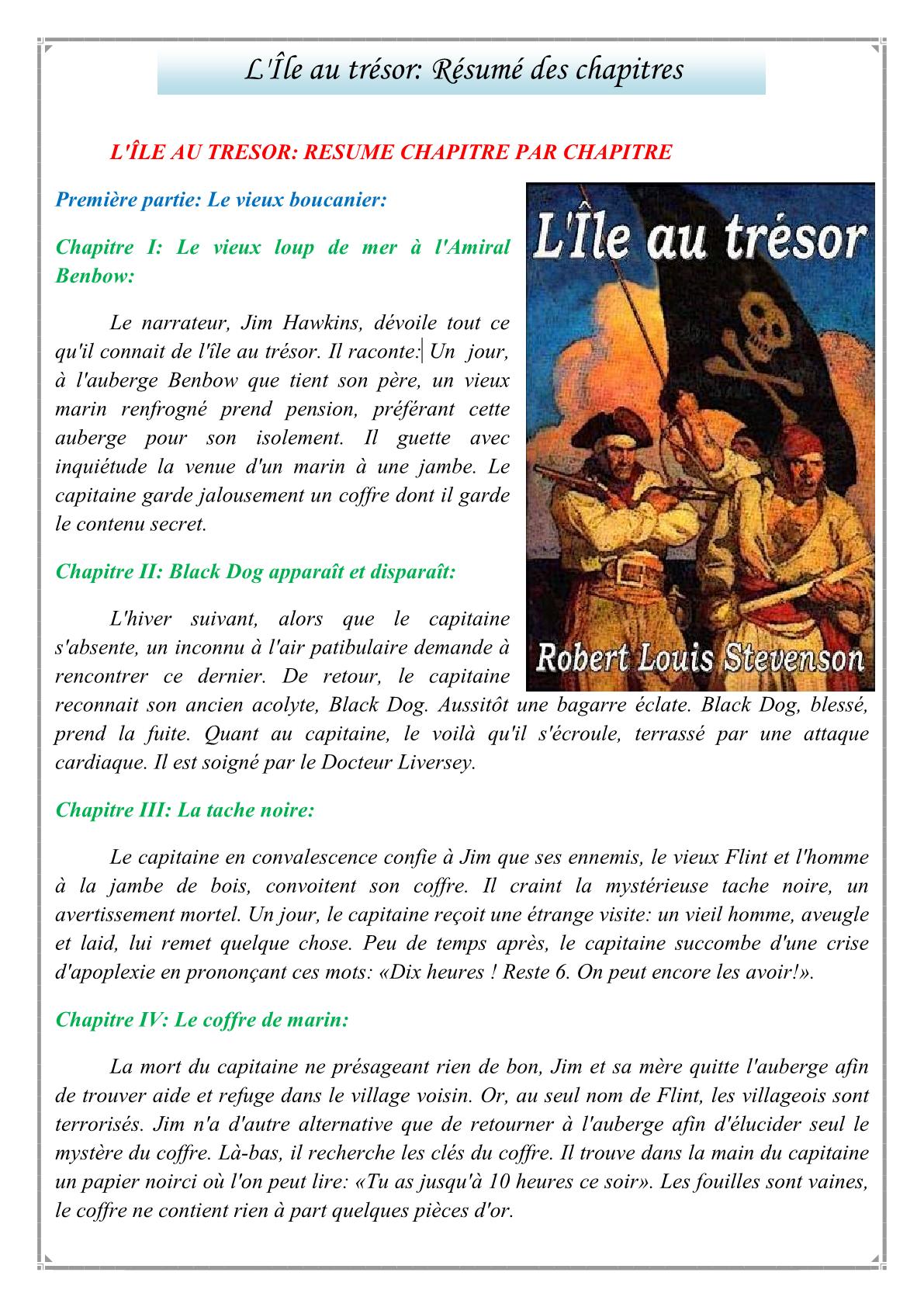 درس L'Île au trésor: Résumé des chapitres للمستوى الثالثة إعدادي