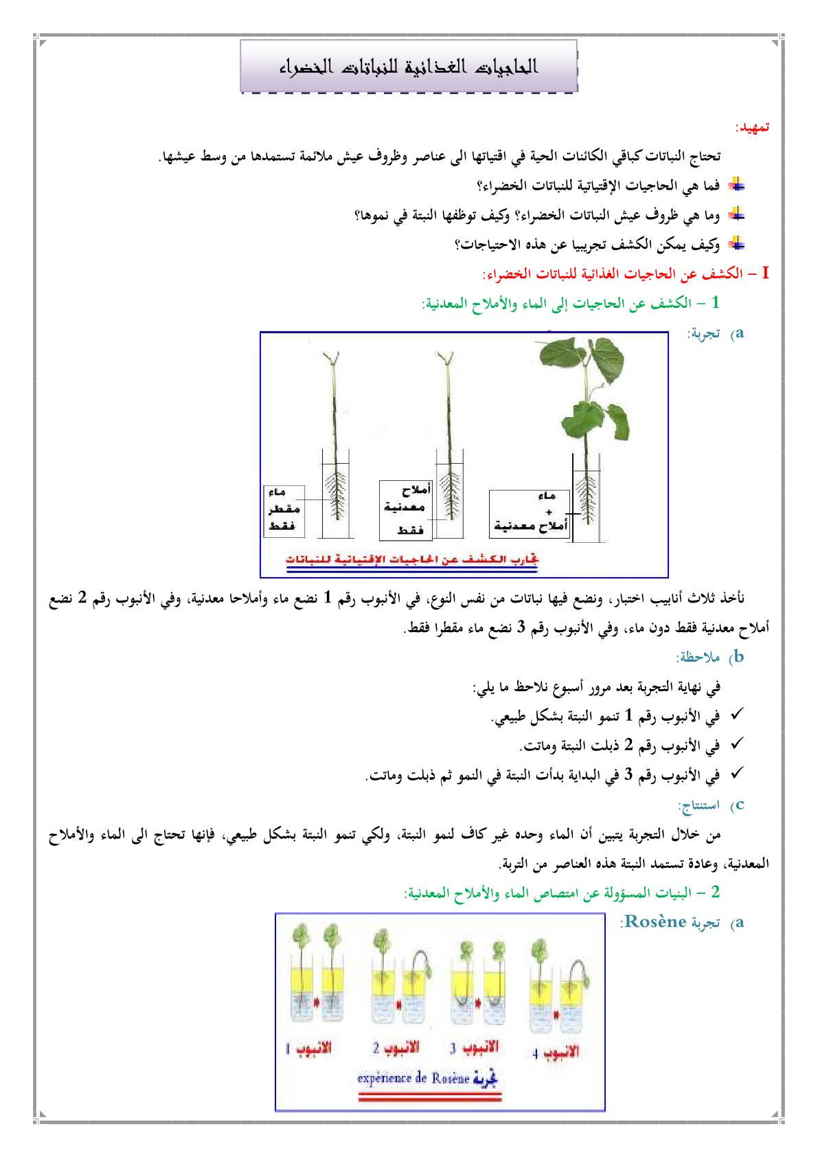درس الحاجيات الغذائية للنباتات الخضراء للمستوى الأولى إعدادي