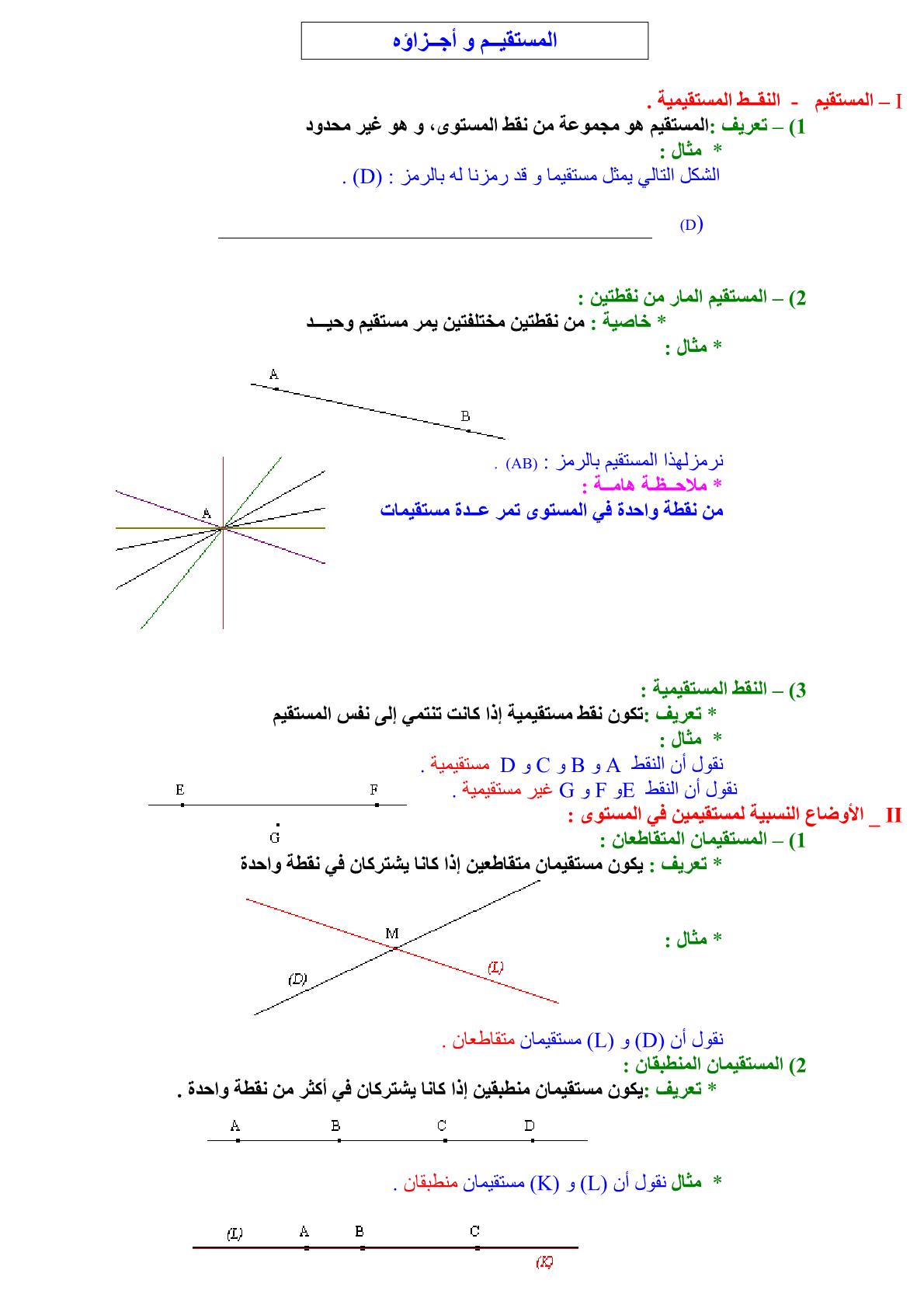 ملخص درس المستقيم وأجزاؤه في مادة الرياضيات للسنة الأولى إعدادي