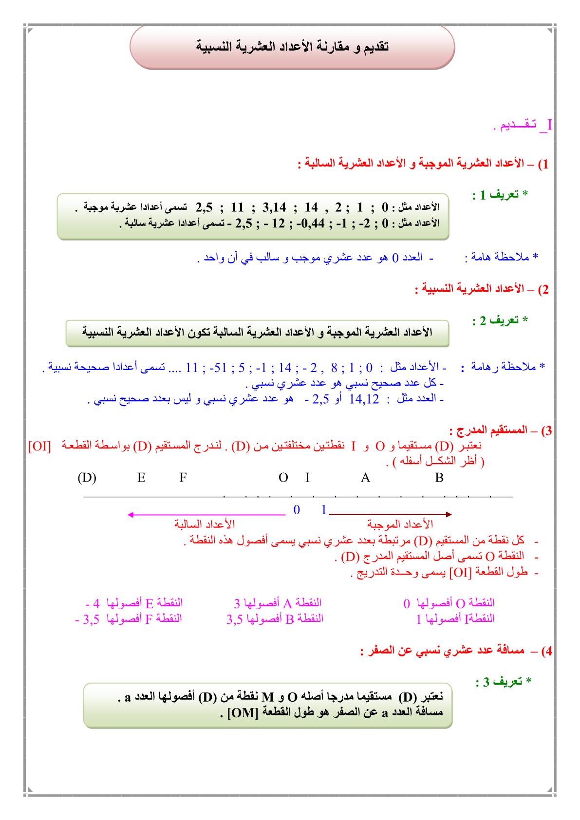 درس تقديم ومقارنة الأعداد العشرية النسبية للمستوى الأولى إعدادي