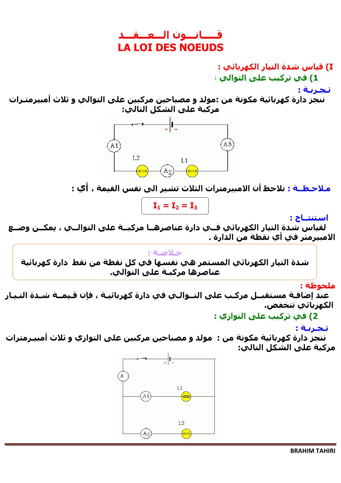 درس قانون العقد بمادة الفيزياء والكيمياء للمستوى الأولى إعدادي