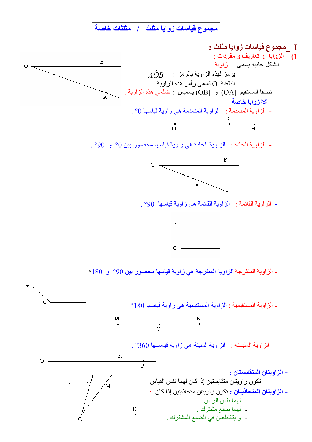 درس مجموع قياسات زوايا مثلث - مثلثات خاصة للمستوى الأولى إعدادي
