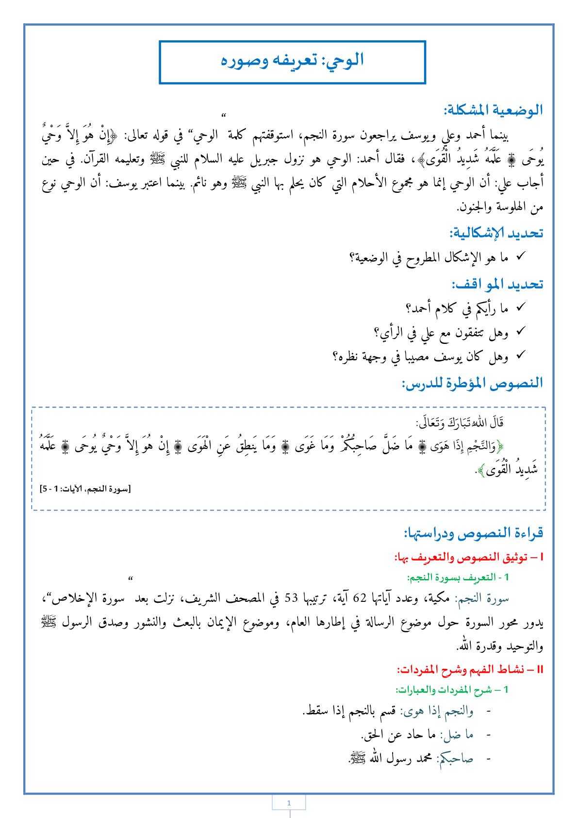 درس الوحي: تعريفه وصوره مادة التربية الإسلامية