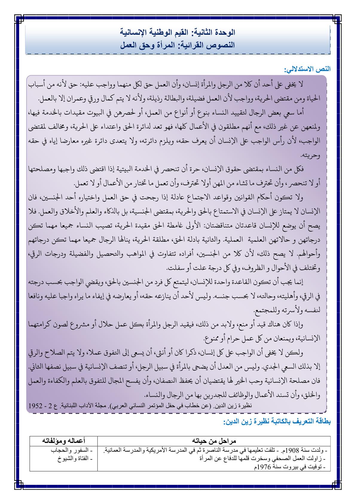 درس المرأة وحق العمل مكون النصوص القرائية بمادة اللغة العربية للسنة الثانية اعدادي
