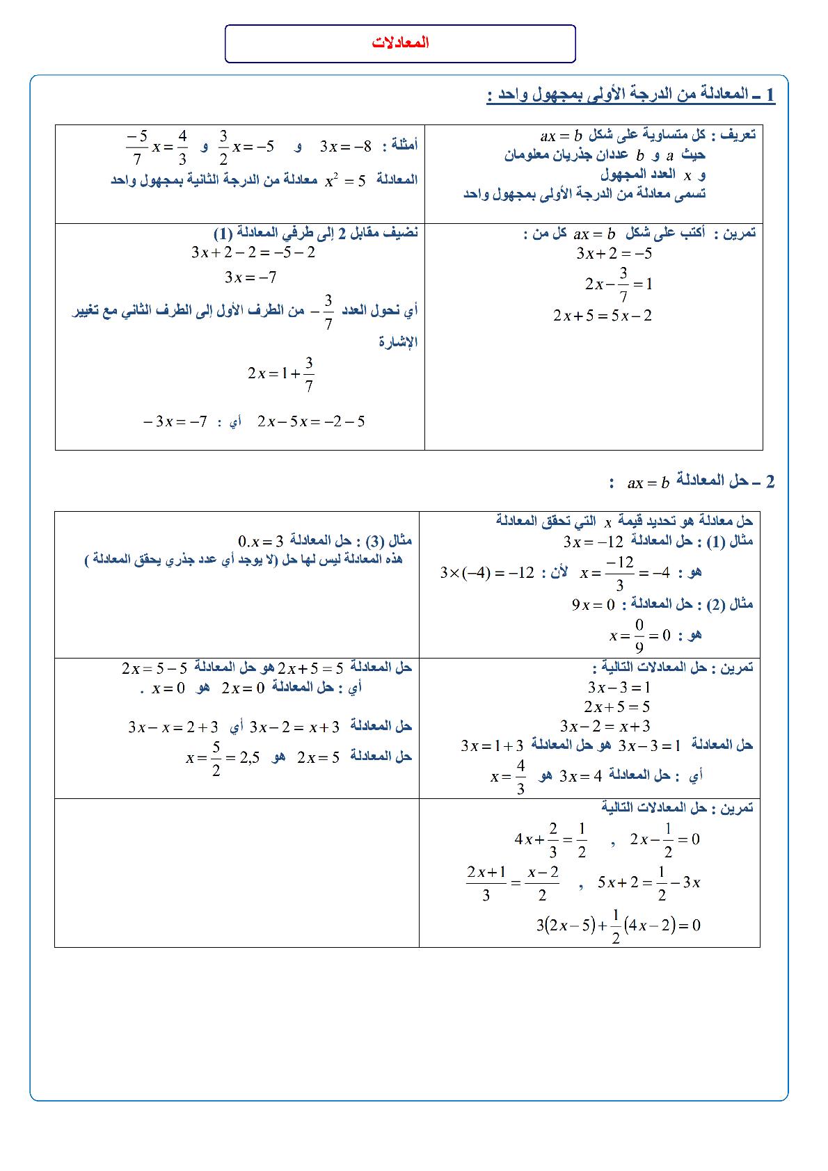 درس المعادلات للسنة الثانية اعدادي مادة الرياضيات