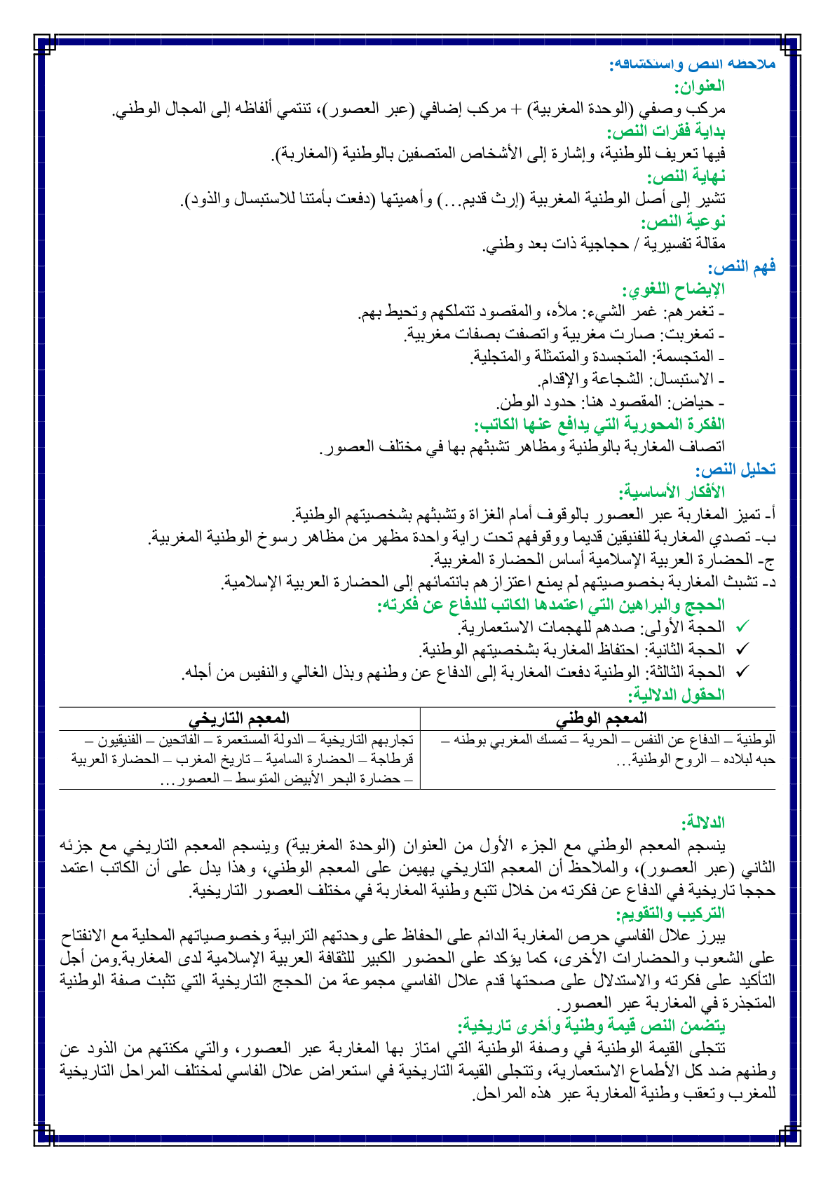 درس الوحدة المغربية عبر العصور مادة اللغة العربية للسنة الثانية اعدادي -  الدراسة