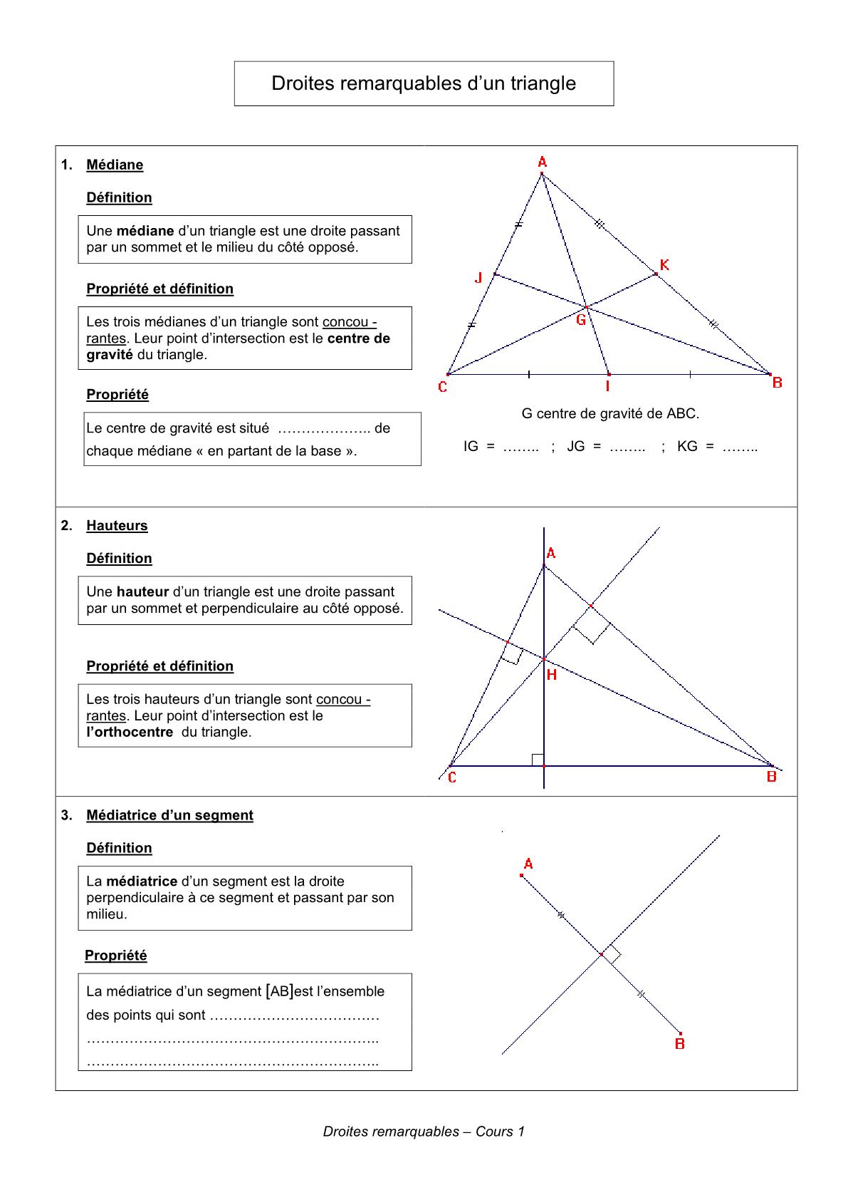 درس Droites remarquables d'un triangle للسنة الأولى اعدادي