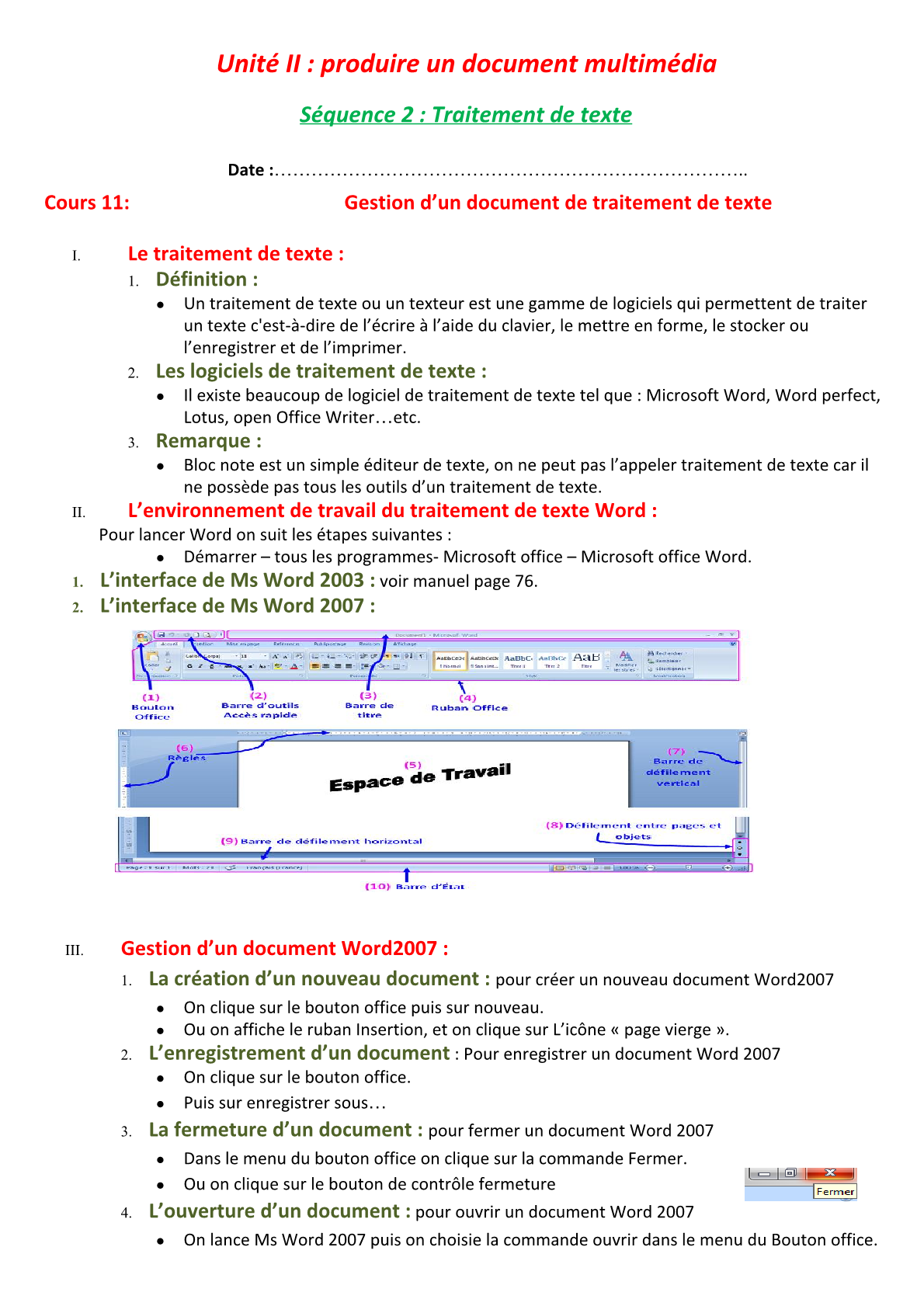 درس Gestion d'un document de traitement de texte للسنة الأولى اعدادي