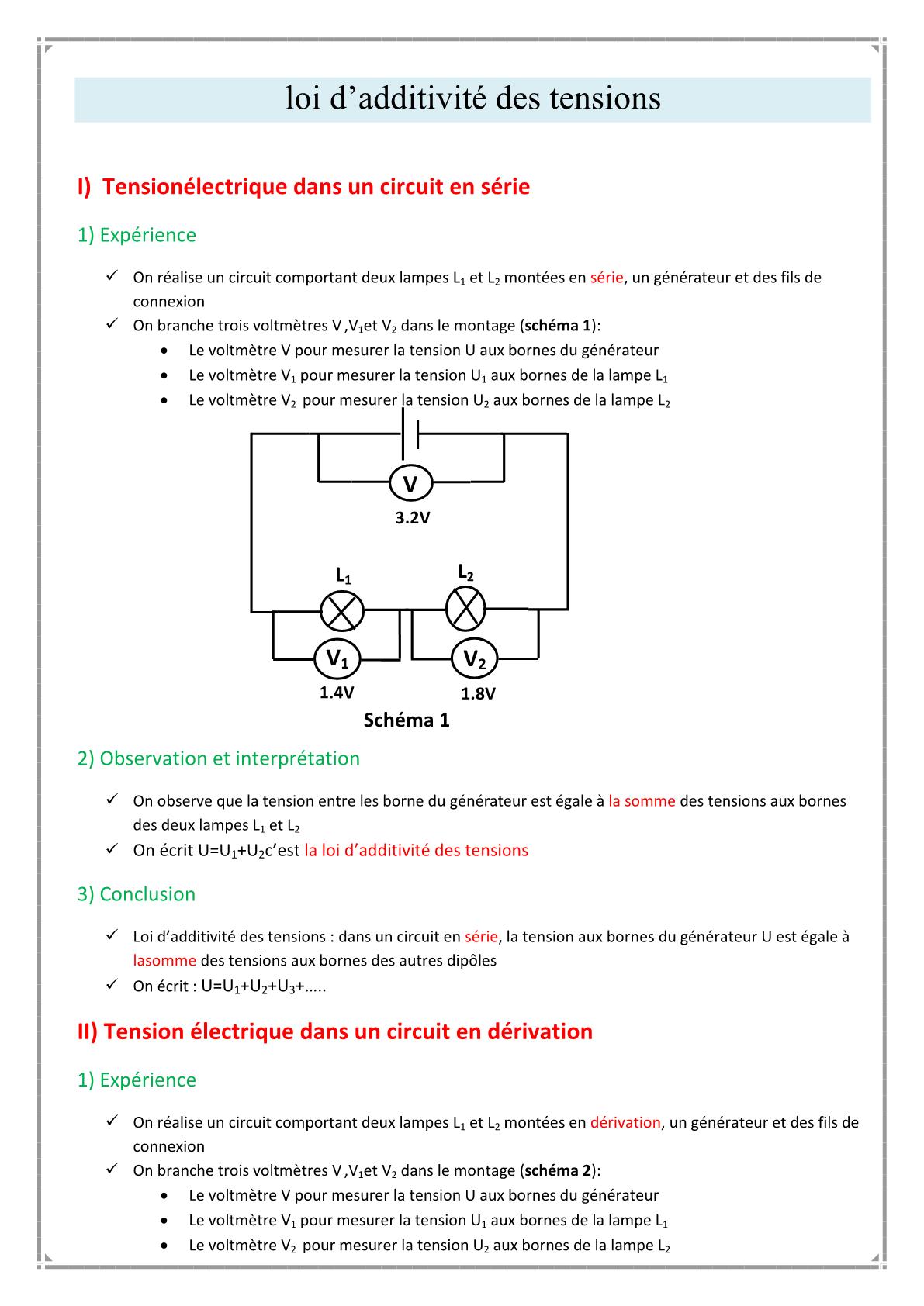 درس La loi d'additivité des tensions للسنة الأولى اعدادي