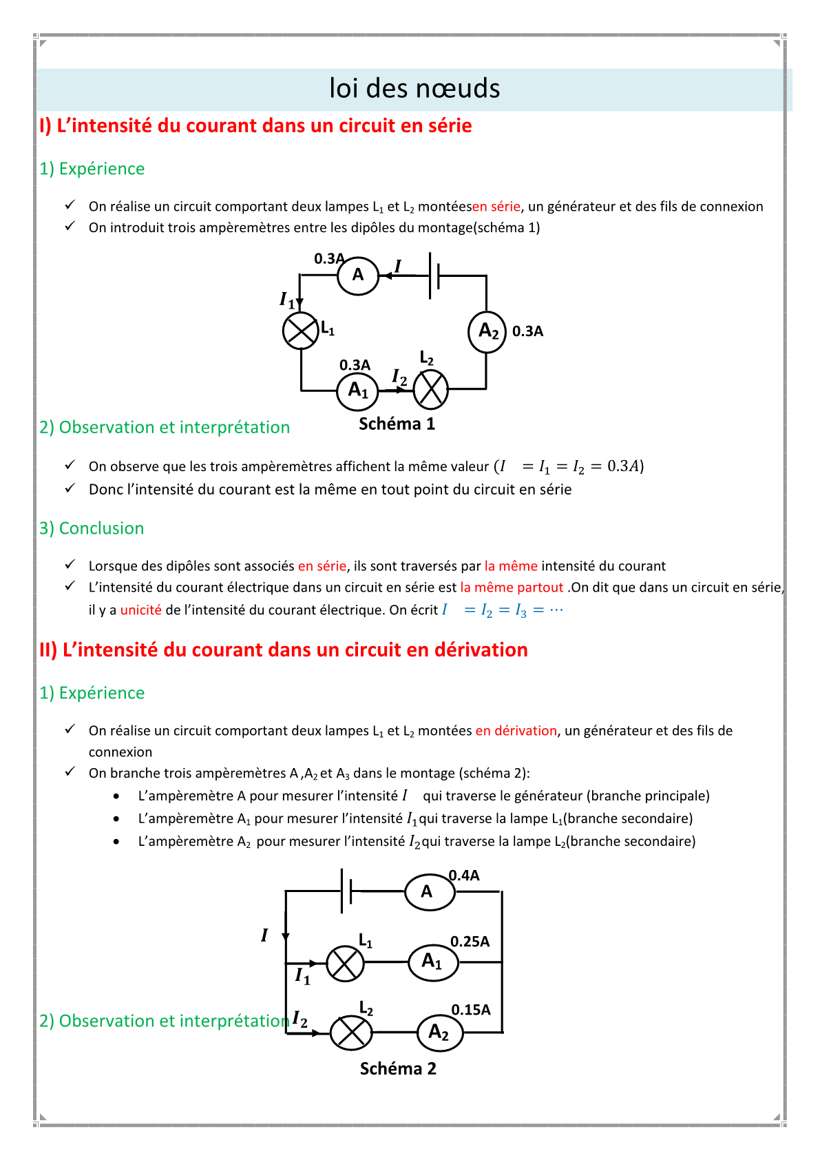 درس La loi des noeuds للسنة الأولى اعدادي
