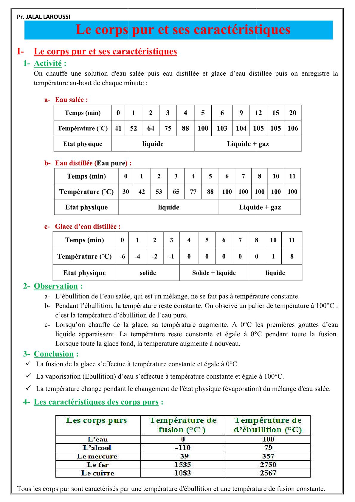 درس Le corps pur et ses caractéristiques للسنة الأولى اعدادي