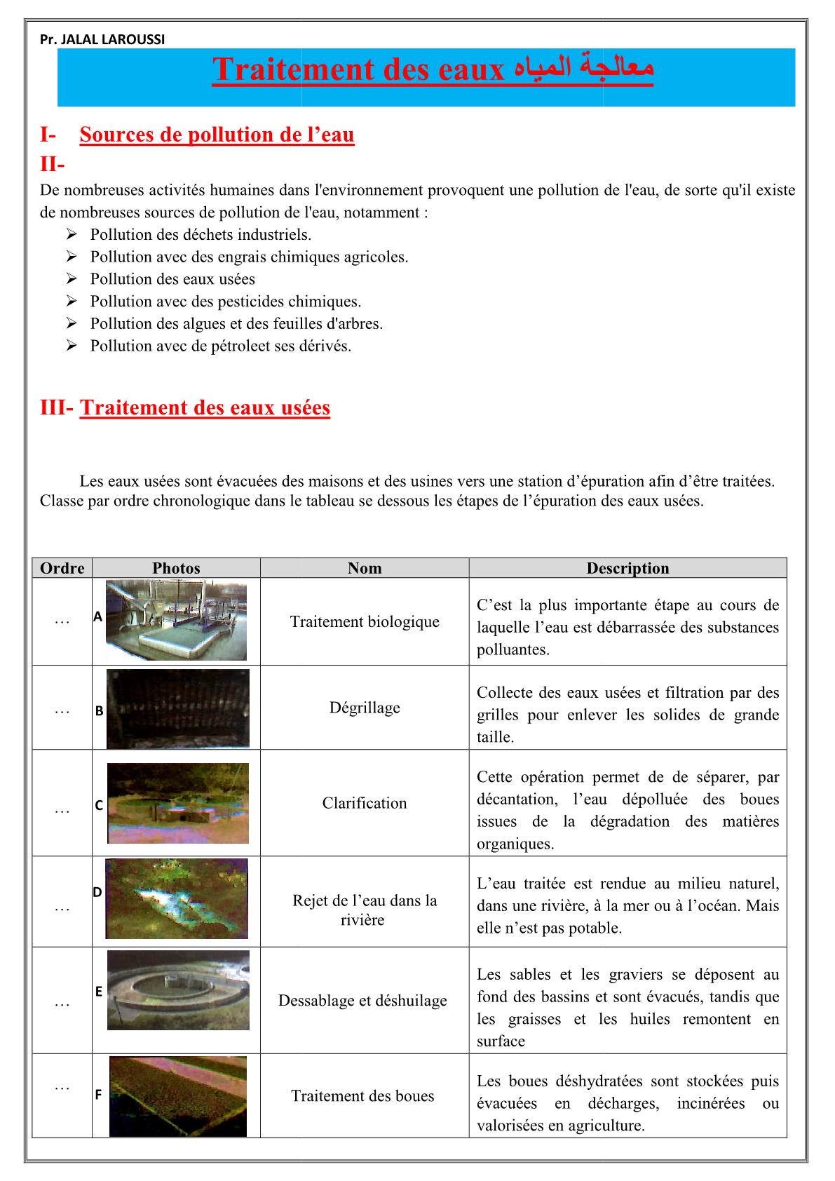 درس Le traitement des eaux للسنة الأولى اعدادي