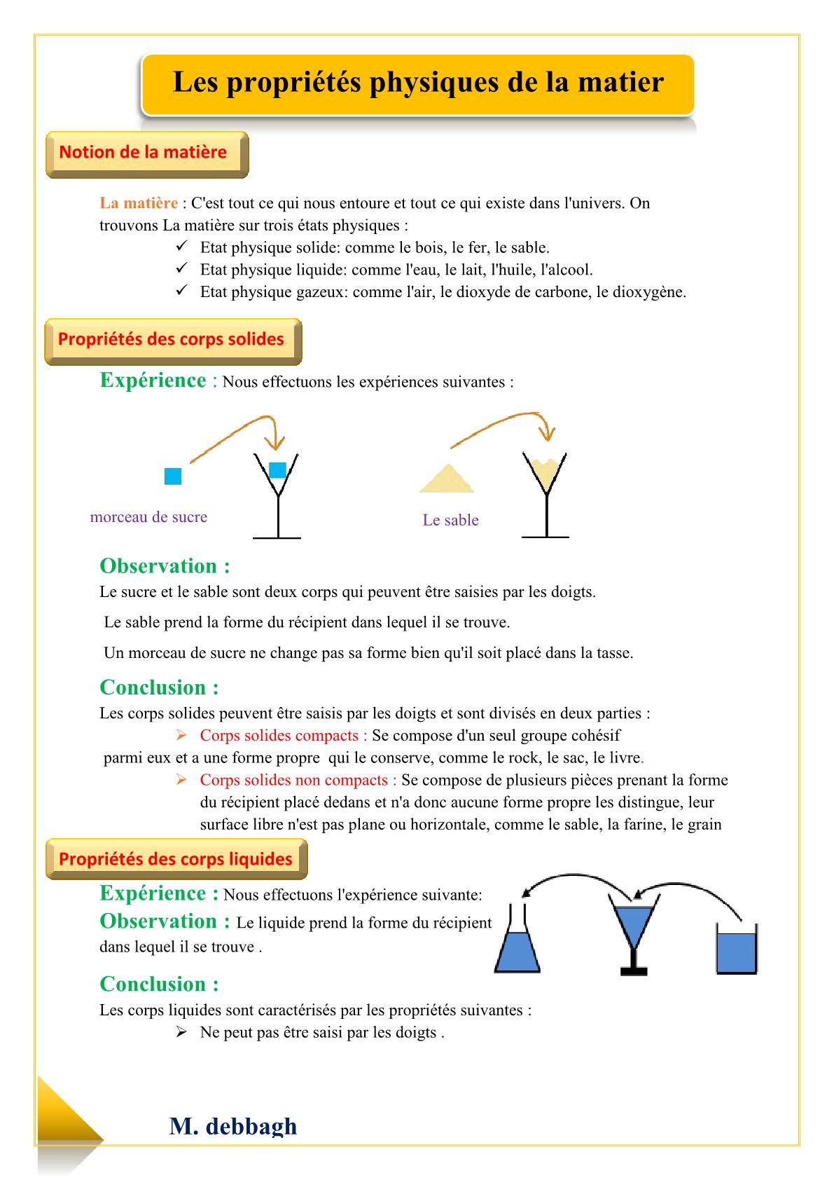 درس Les états physiques de la matière للسنة الأولى اعدادي