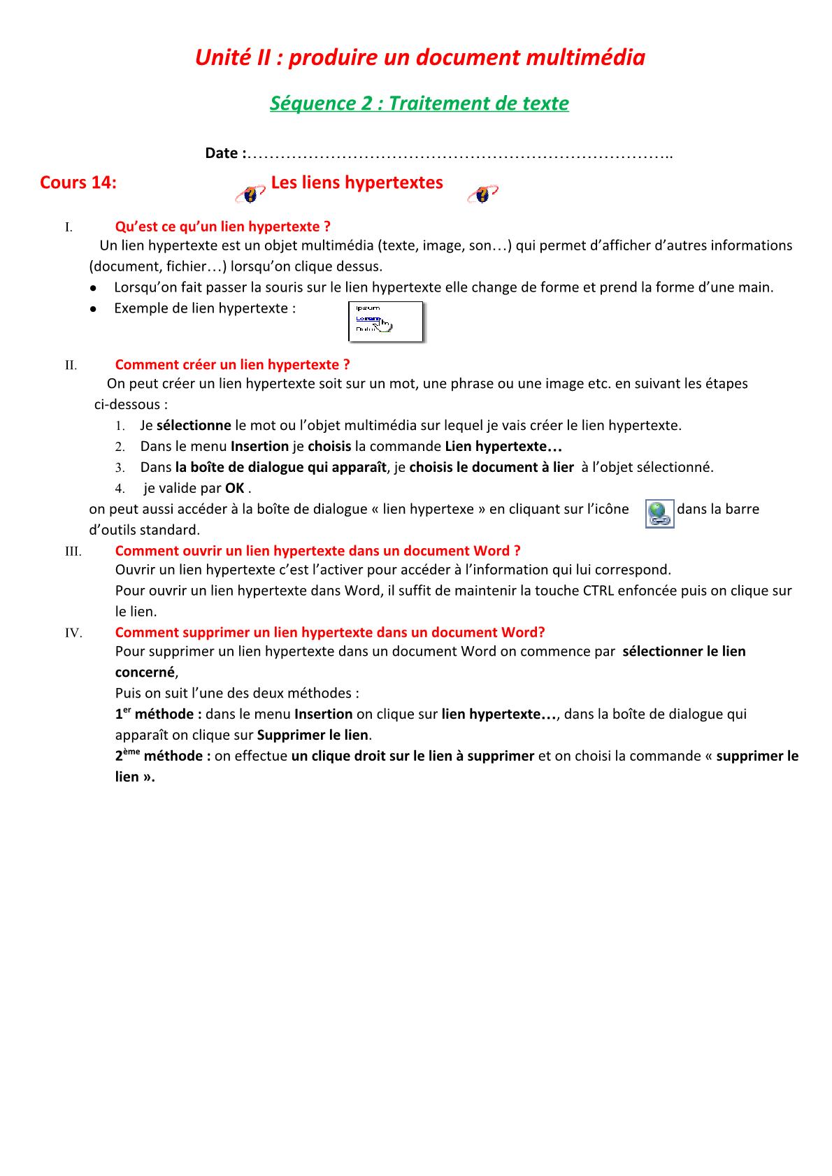 درس Les liens hypertextes للسنة الأولى اعدادي