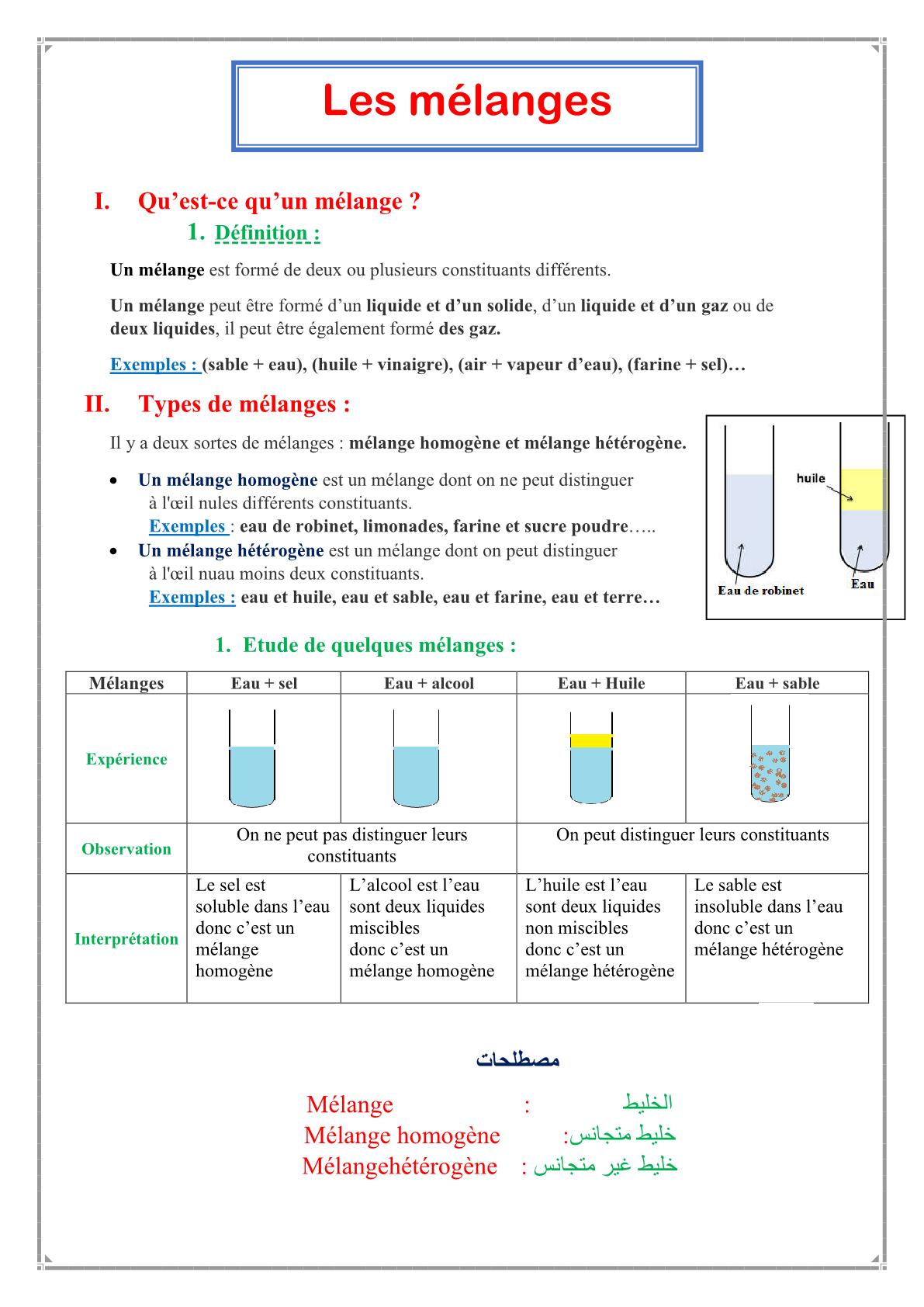 درس Les mélanges للسنة الأولى اعدادي