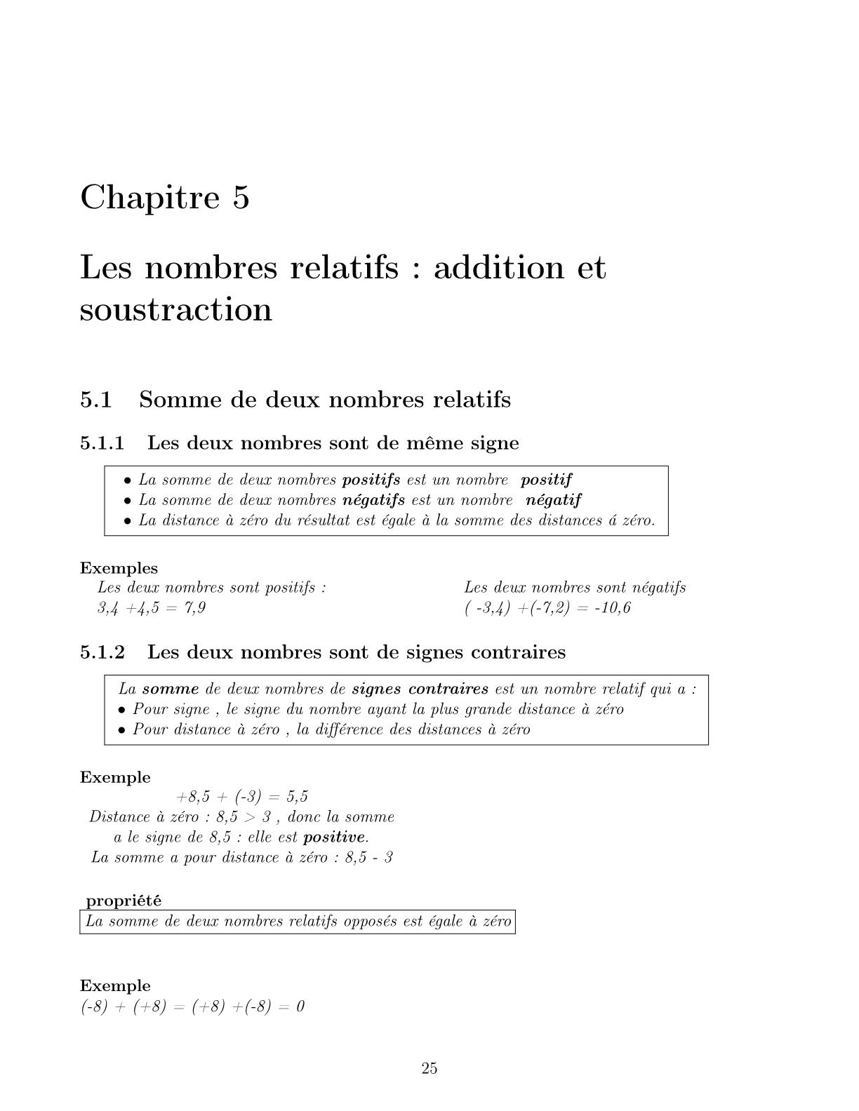 درس Les nombres relatifs addition et soustraction للسنة الأولى اعدادي