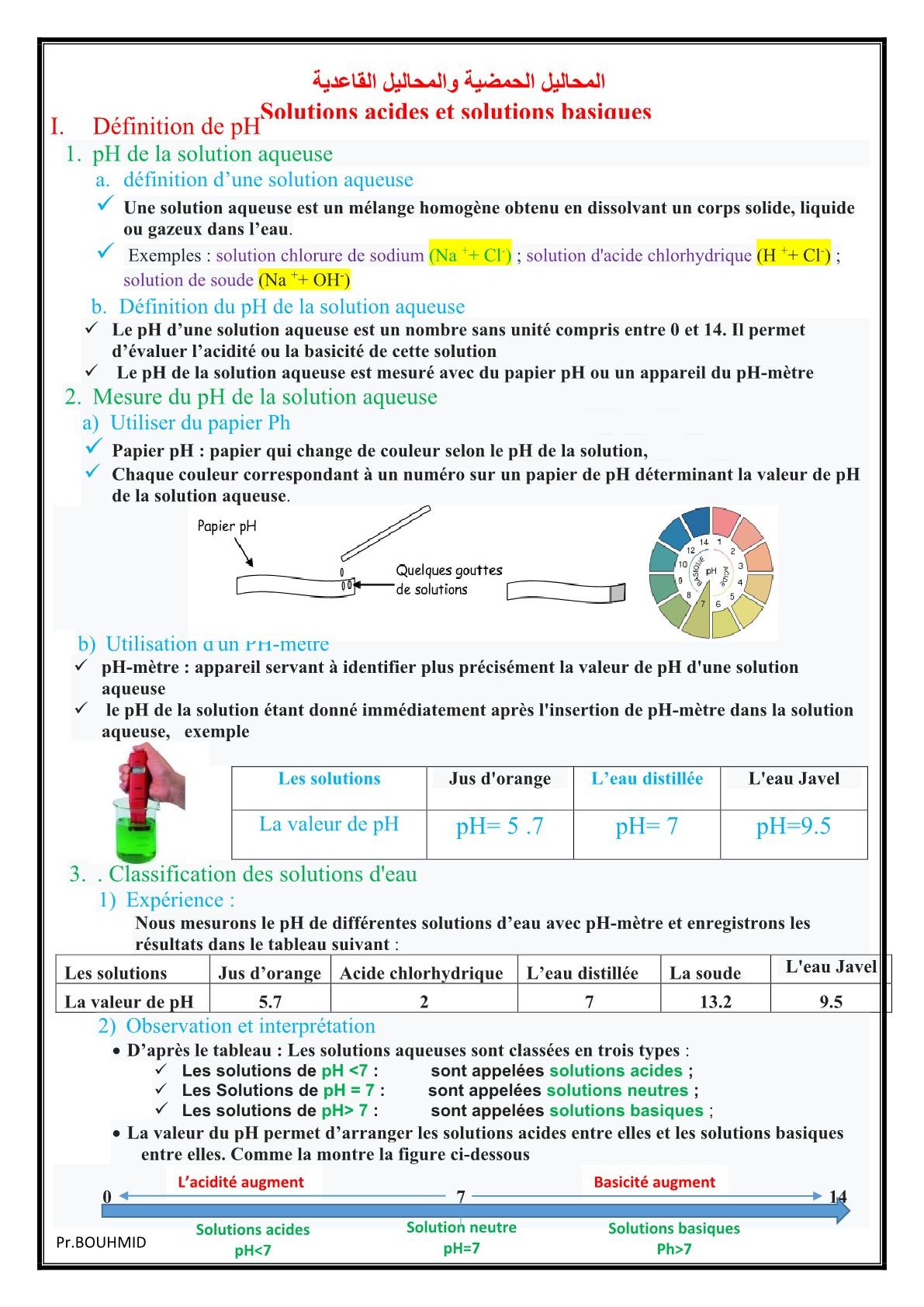 درس Les solutions acides et basiques للسنة الثالثة إعدادي