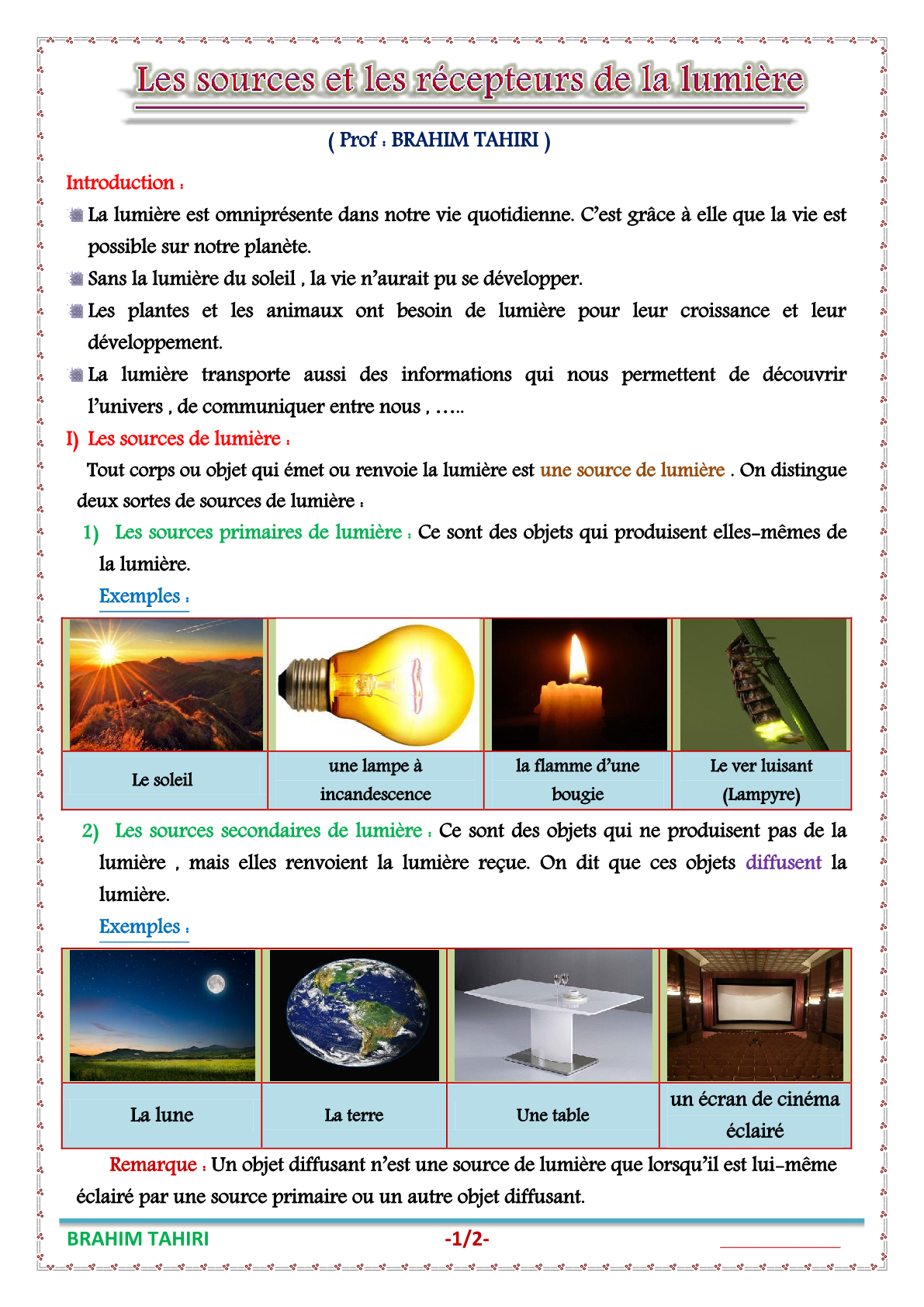 درس Les sources et les récepteurs de la lumière للسنة الثانية اعدادي