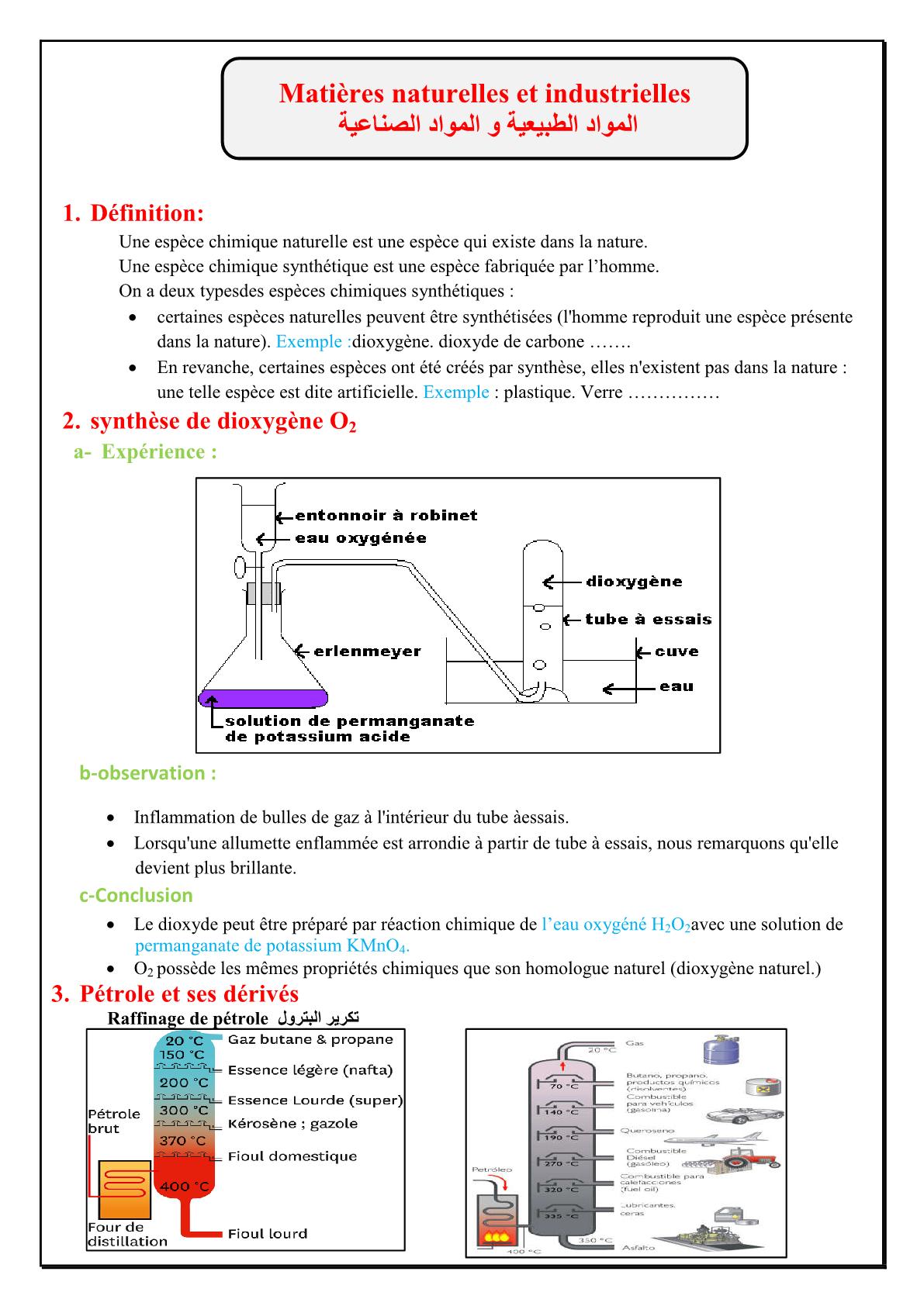 درس Les substances naturelles et synthétiques للسنة الثانية اعدادي