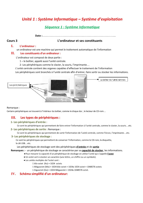 درس L'ordinateur et ses constituants للسنة الأولى اعدادي