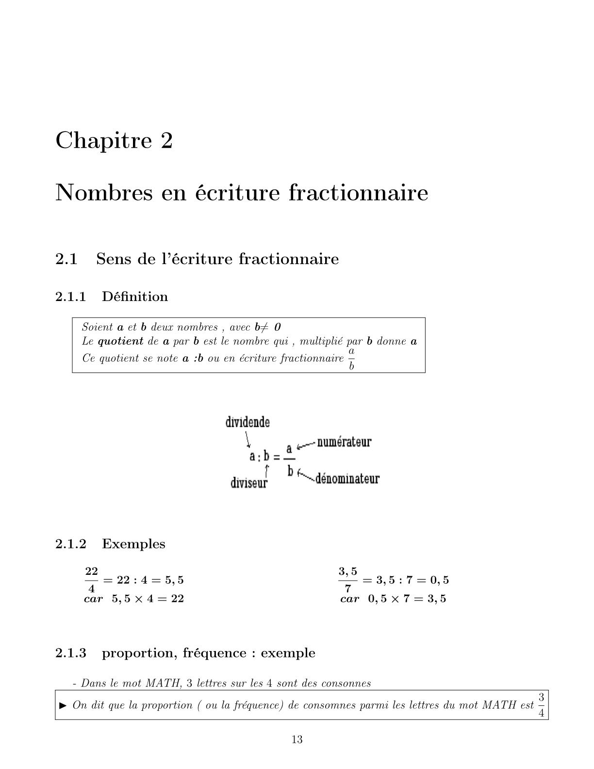 درس Nombre en écriture fractionnaire للسنة الأولى اعدادي