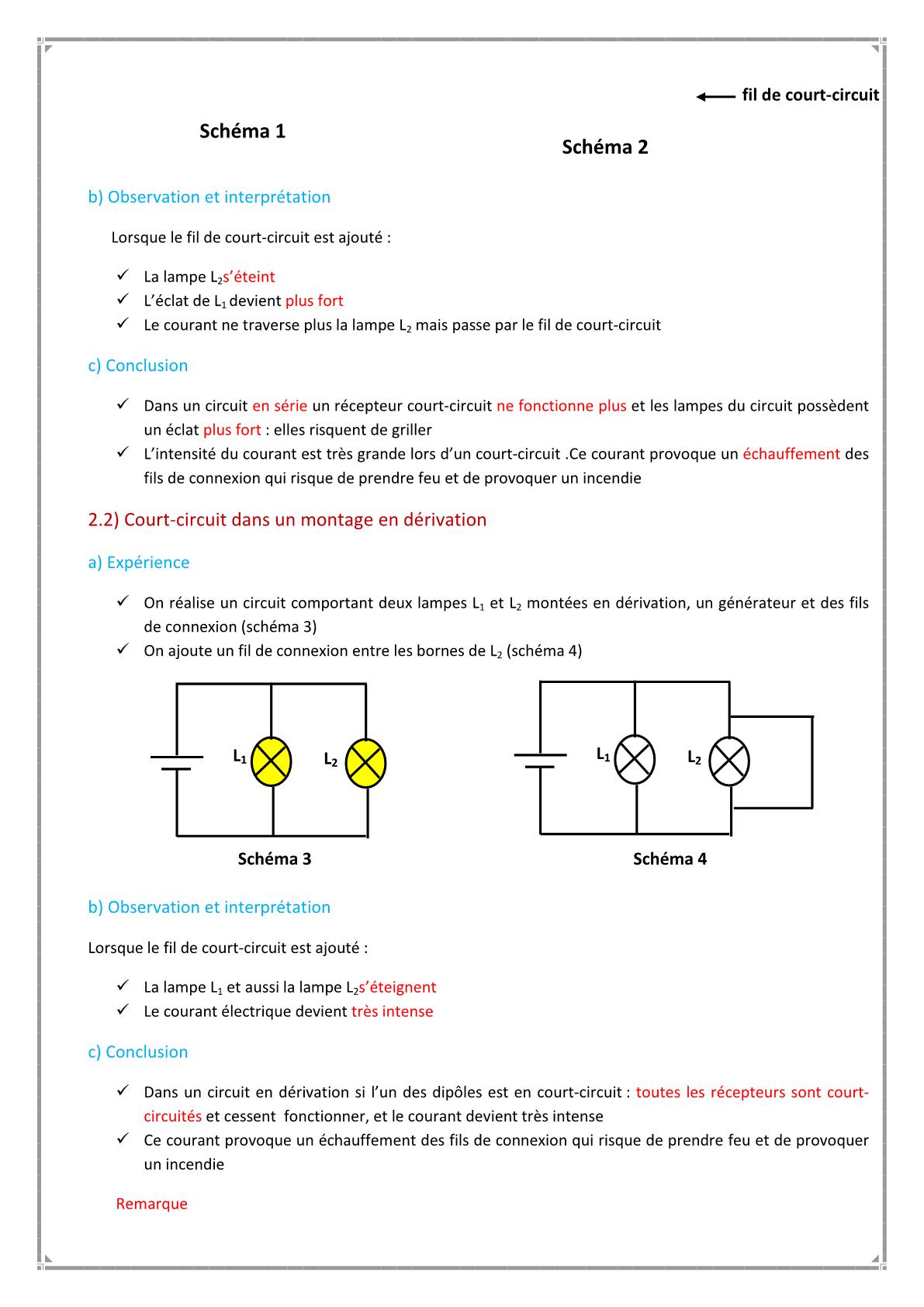 درس Prévention des dangers du courant électrique للسنة الأولى اعدادي
