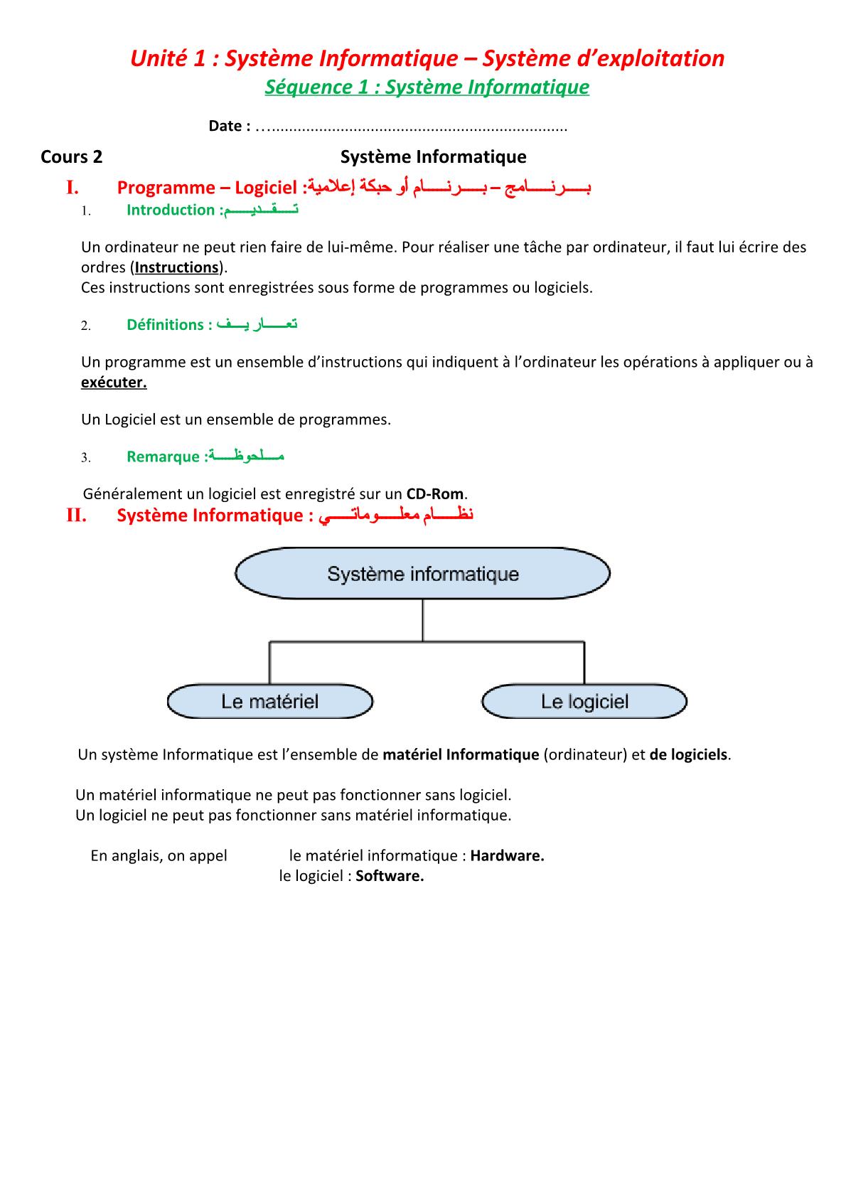 درس Système informatique للسنة الأولى اعدادي