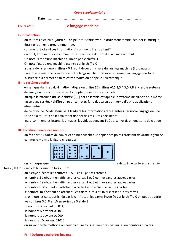 درس Le langage machine للسنة الثانية إعدادي