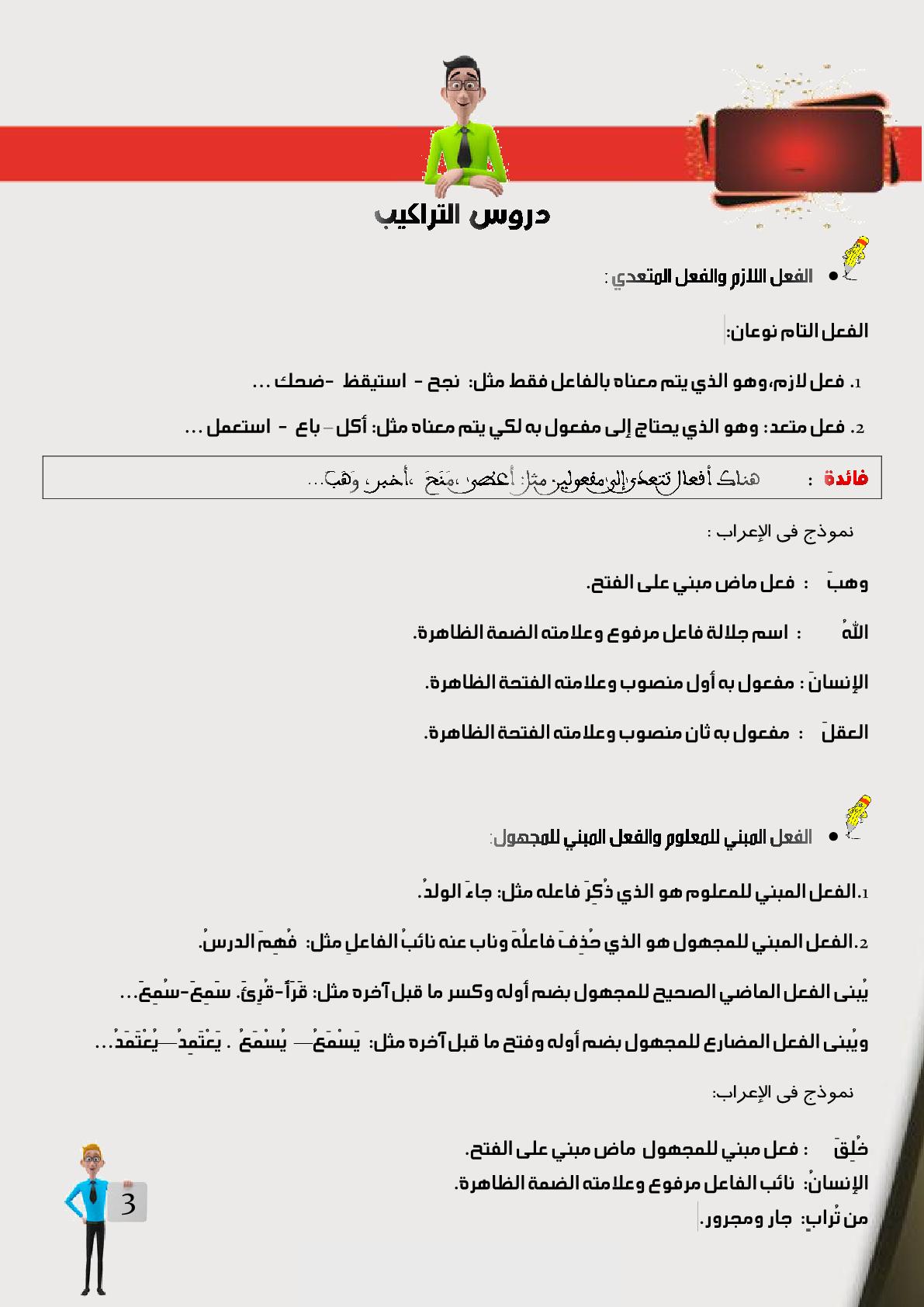 دروس التراكيب بمادة اللغة العربية للمستوى السادس ابتدائي