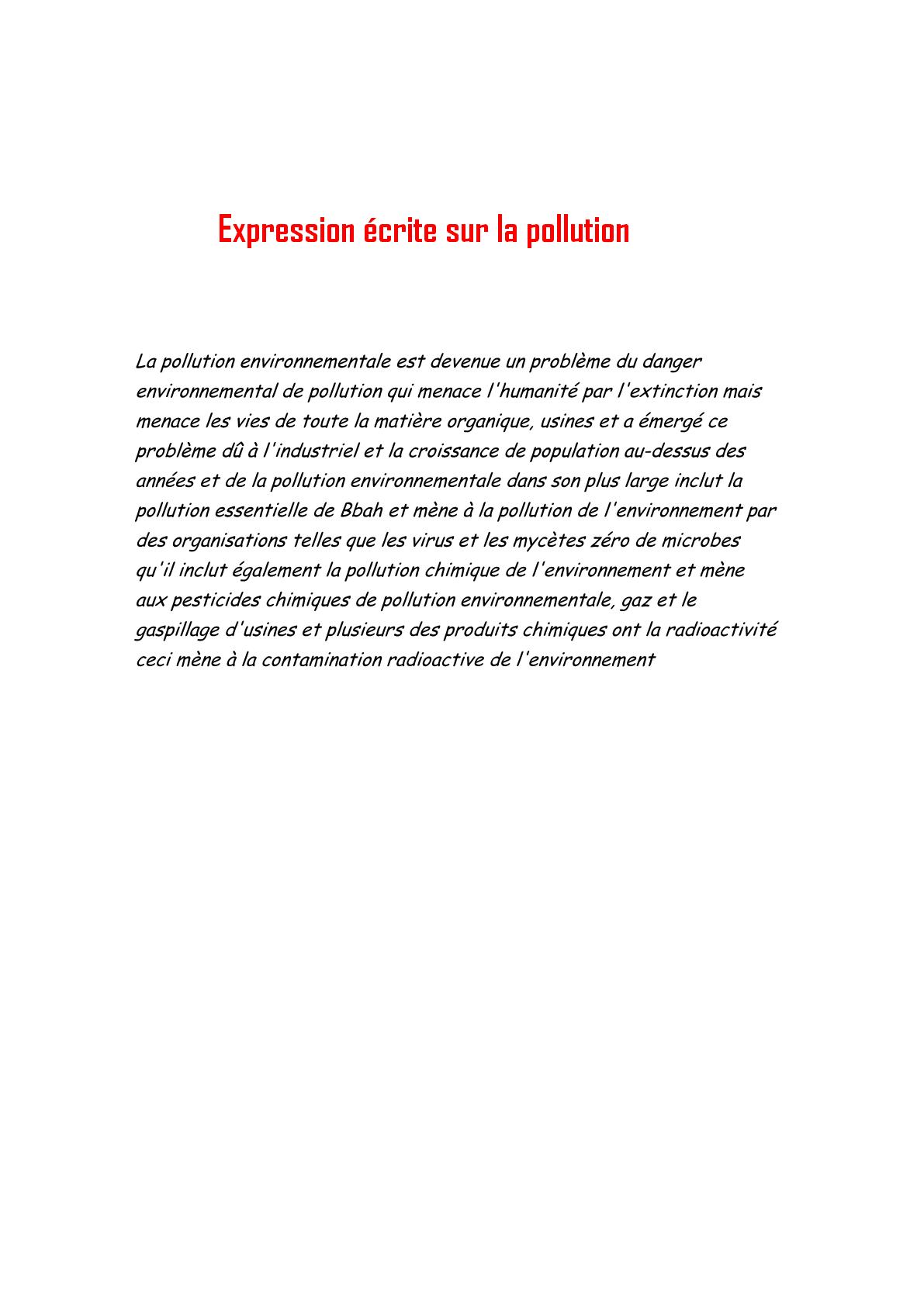 Expression écrite sur la pollution