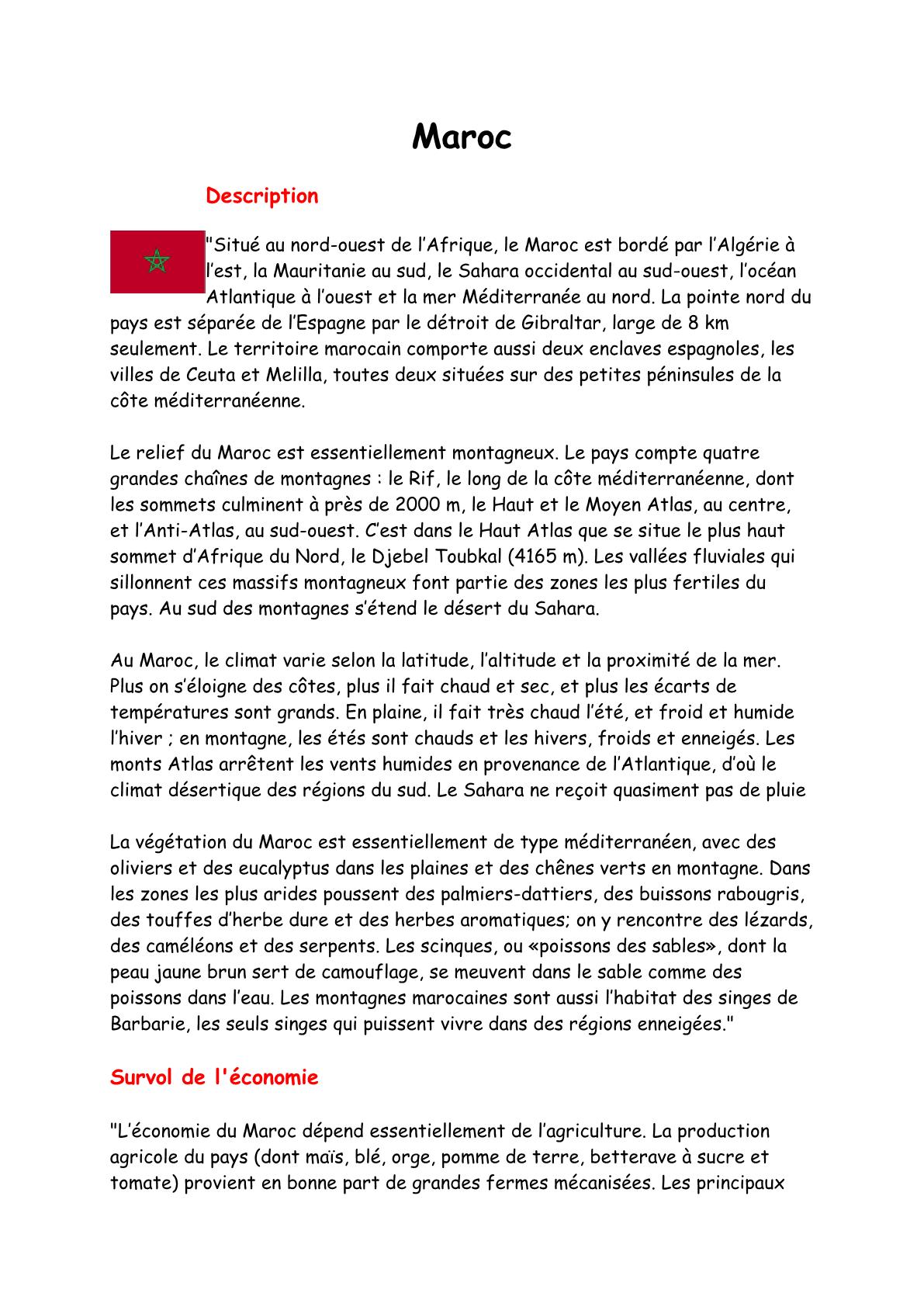 Expression écrite sur le Maroc