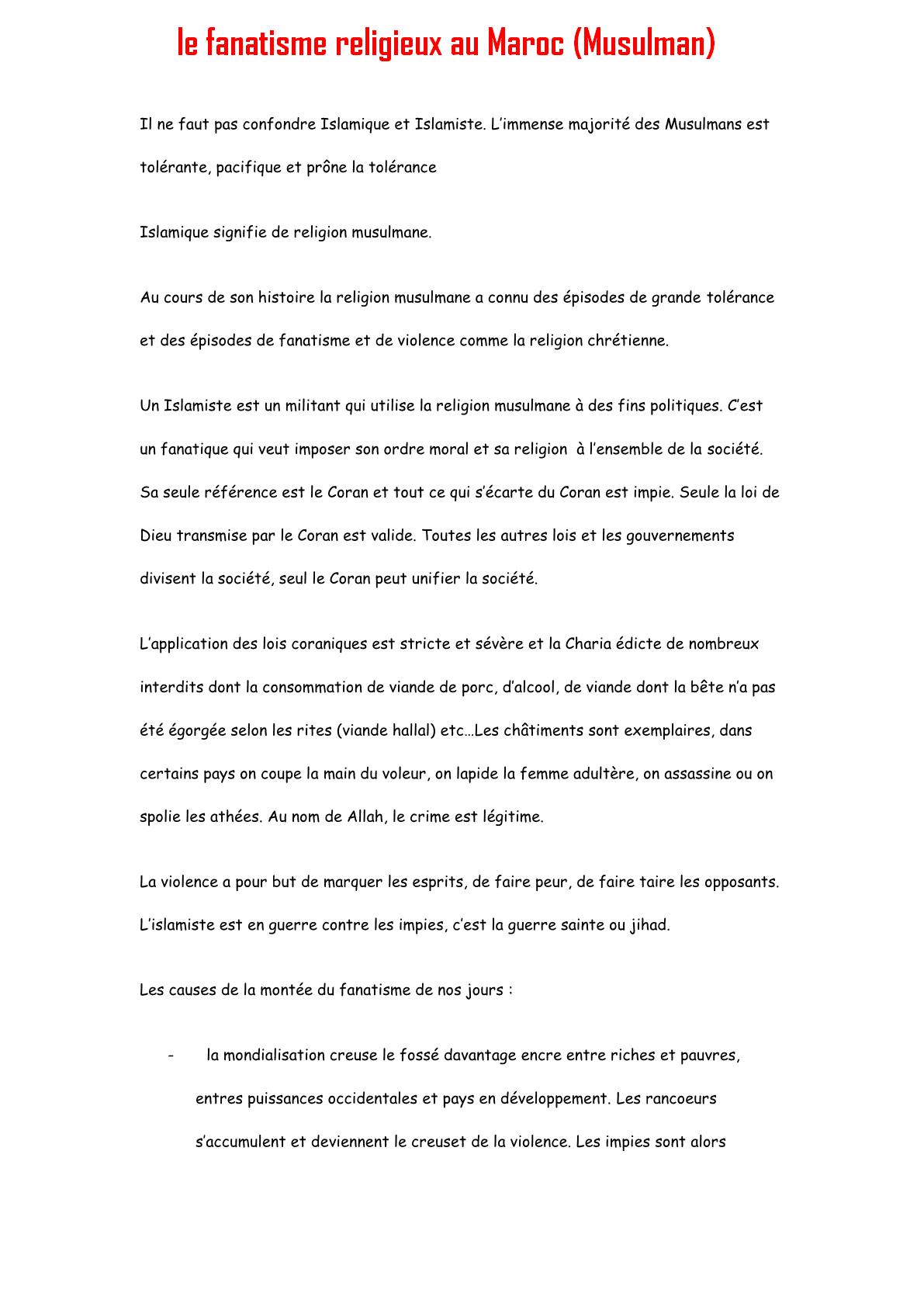 Expression écrite sur le fanatisme religieux au Maroc (Musulman)