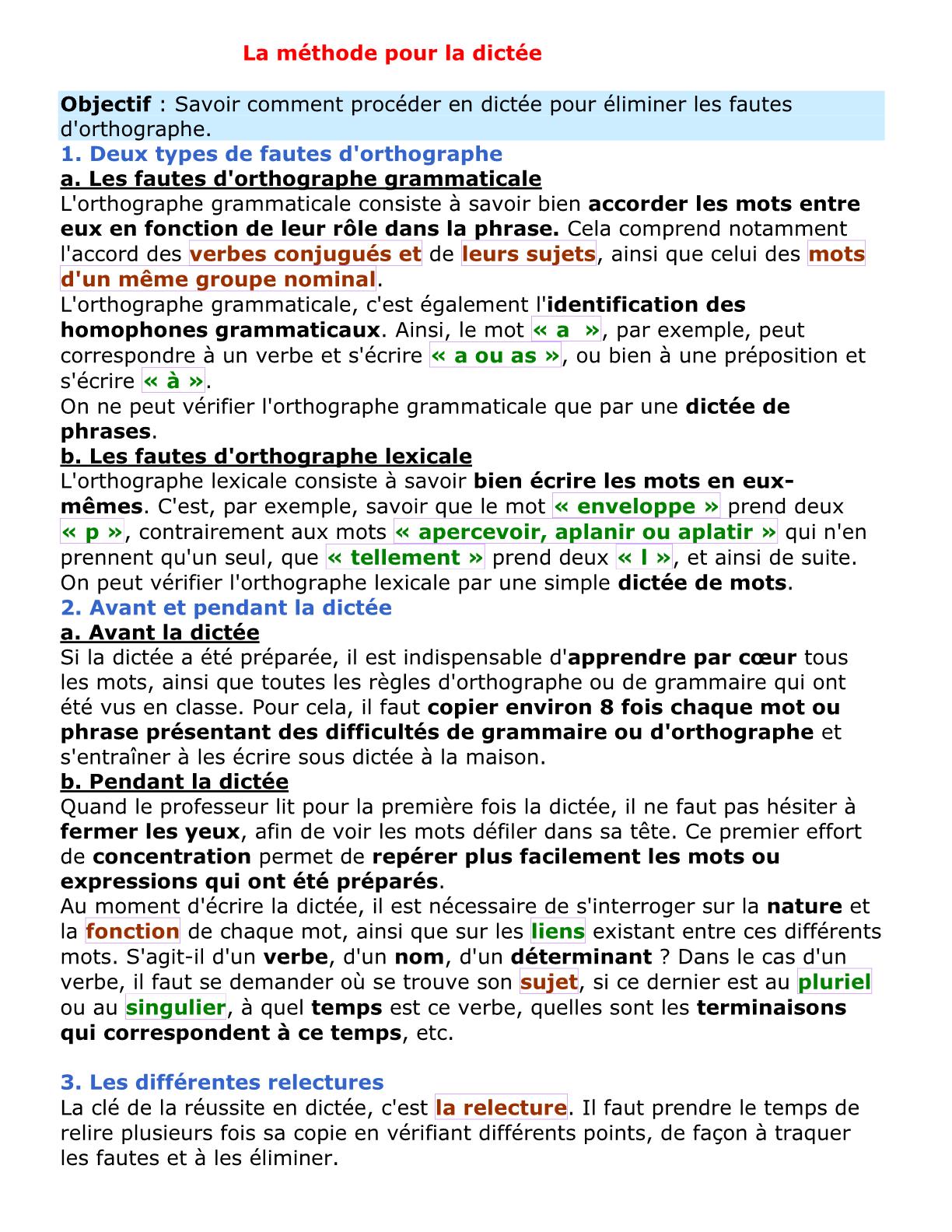 درس La méthode pour la dictée للسنة الأولى إعدادي