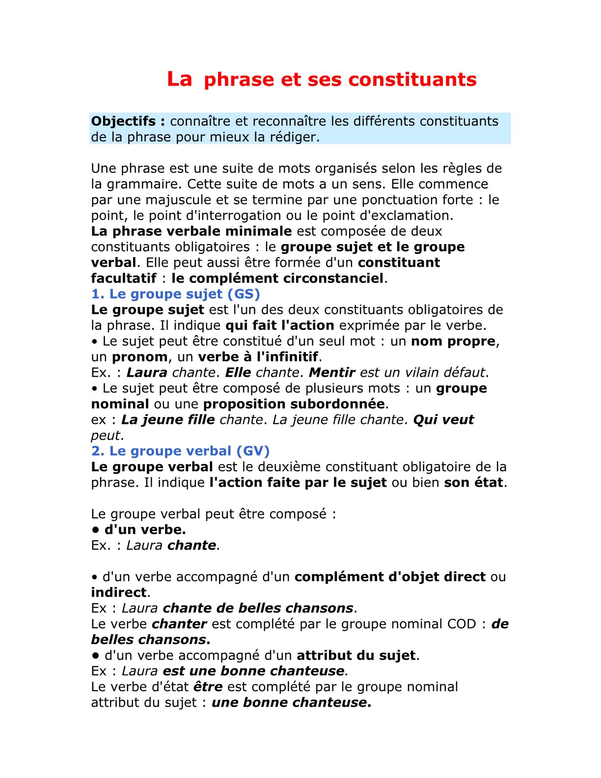 La phrase et ses constituants للسنة الأولى إعدادي